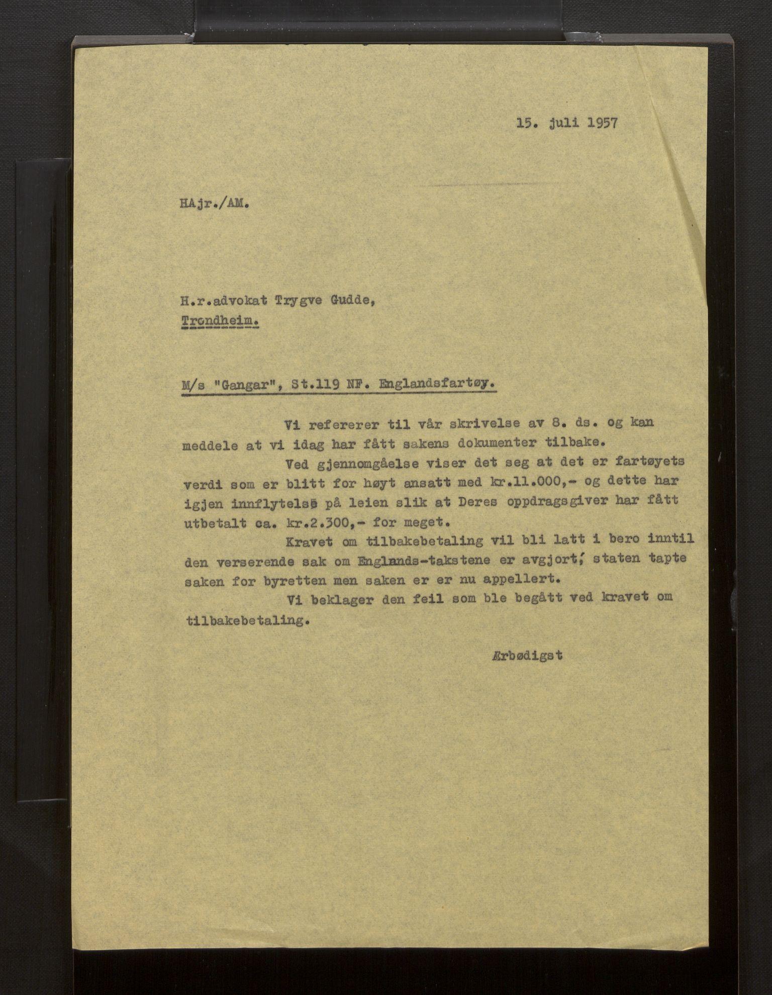 SAB, Fiskeridirektoratet - 1 Adm. ledelse - 13 Båtkontoret, La/L0042: Statens krigsforsikring for fiskeflåten, 1936-1971, p. 112