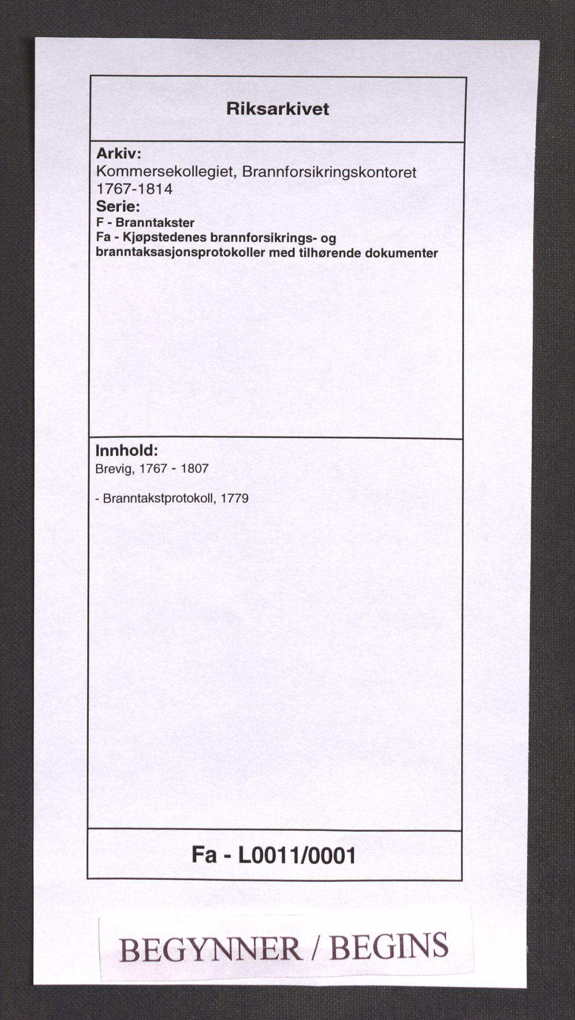 RA, Kommersekollegiet, Brannforsikringskontoret 1767-1814, F/Fa/L0011: Brevik, 1779