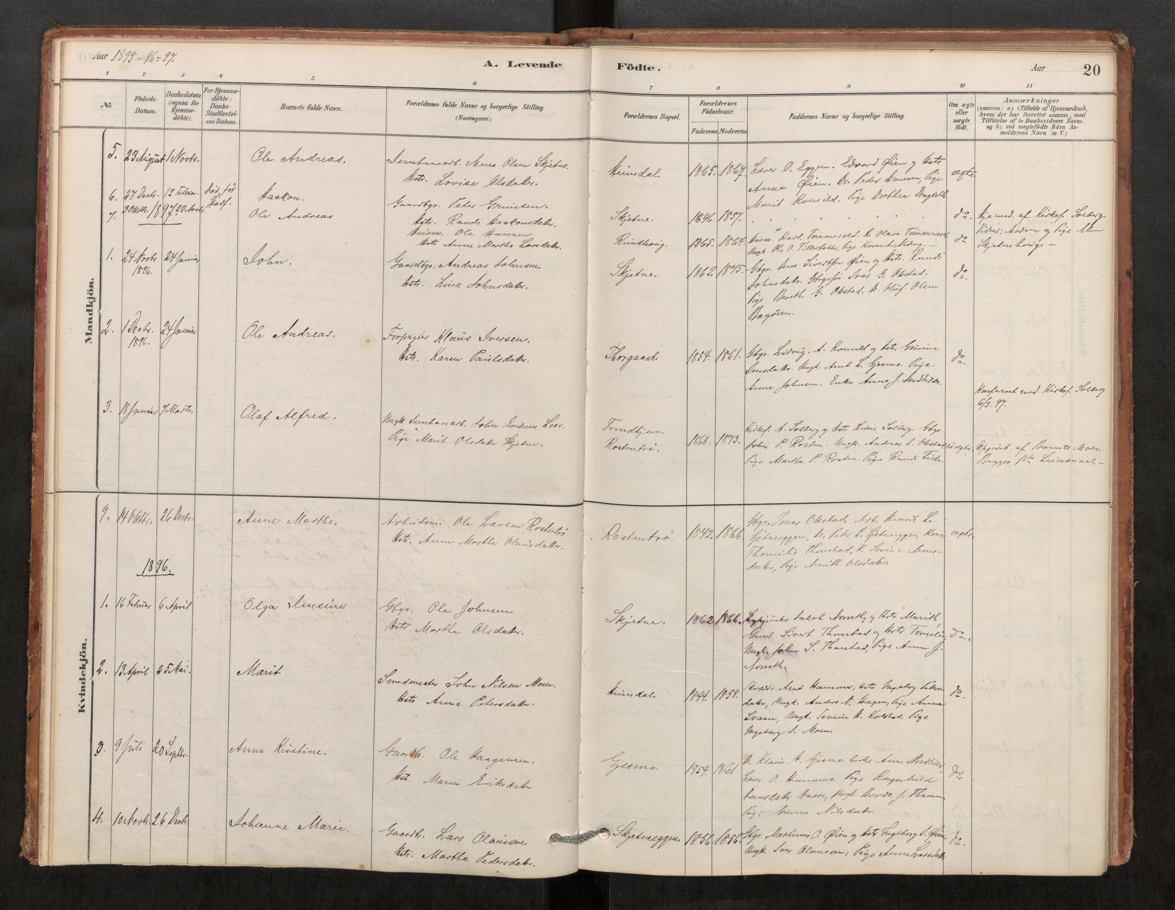 SAT, Klæbu sokneprestkontor, Parish register (official) no. 1, 1880-1900, p. 20