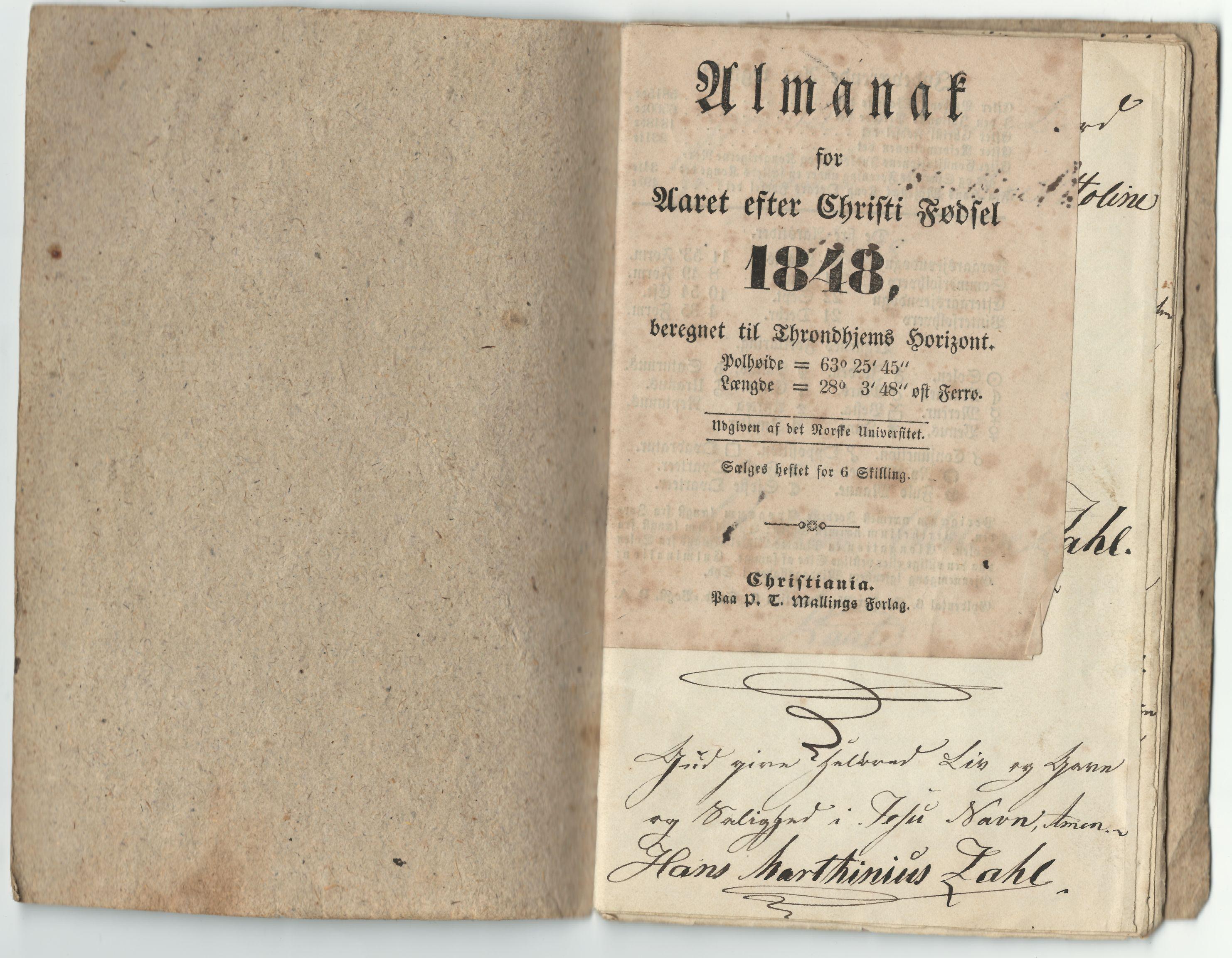 HEMUD, Nordvika gamle handelssted, : Journal ført om bord i jekten Alberthine Ottoline 1848, 1848