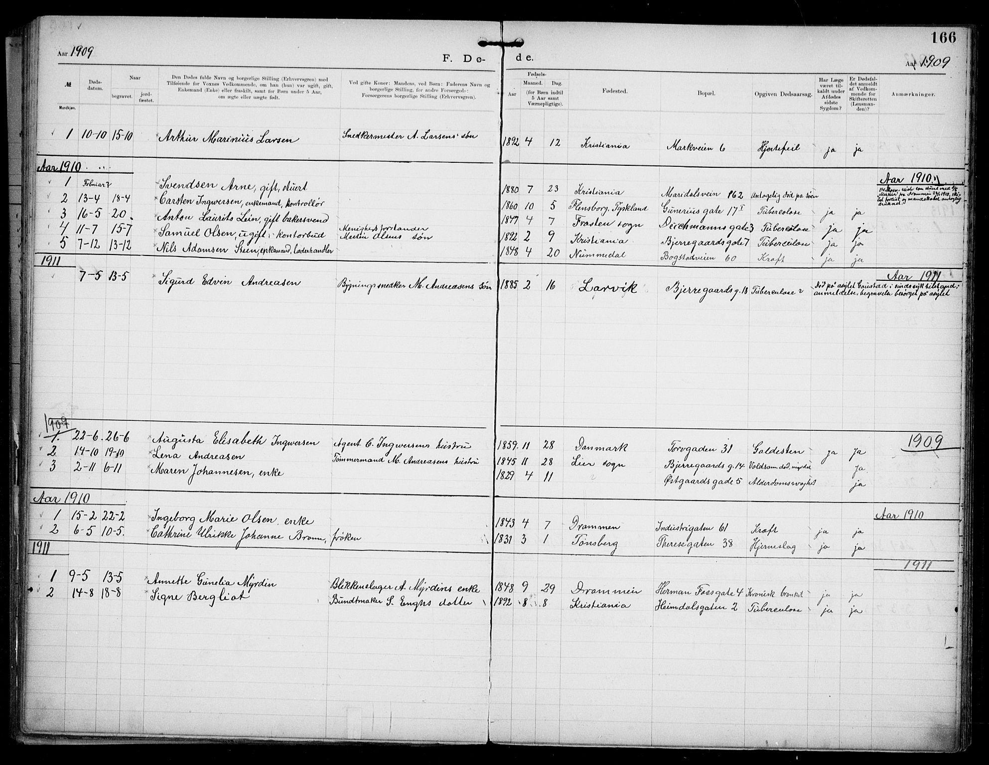 SAO, Den katolsk apostoliske menighet i Oslo , F/Fa/L0002: Dissenter register no. 2, 1892-1937, p. 166