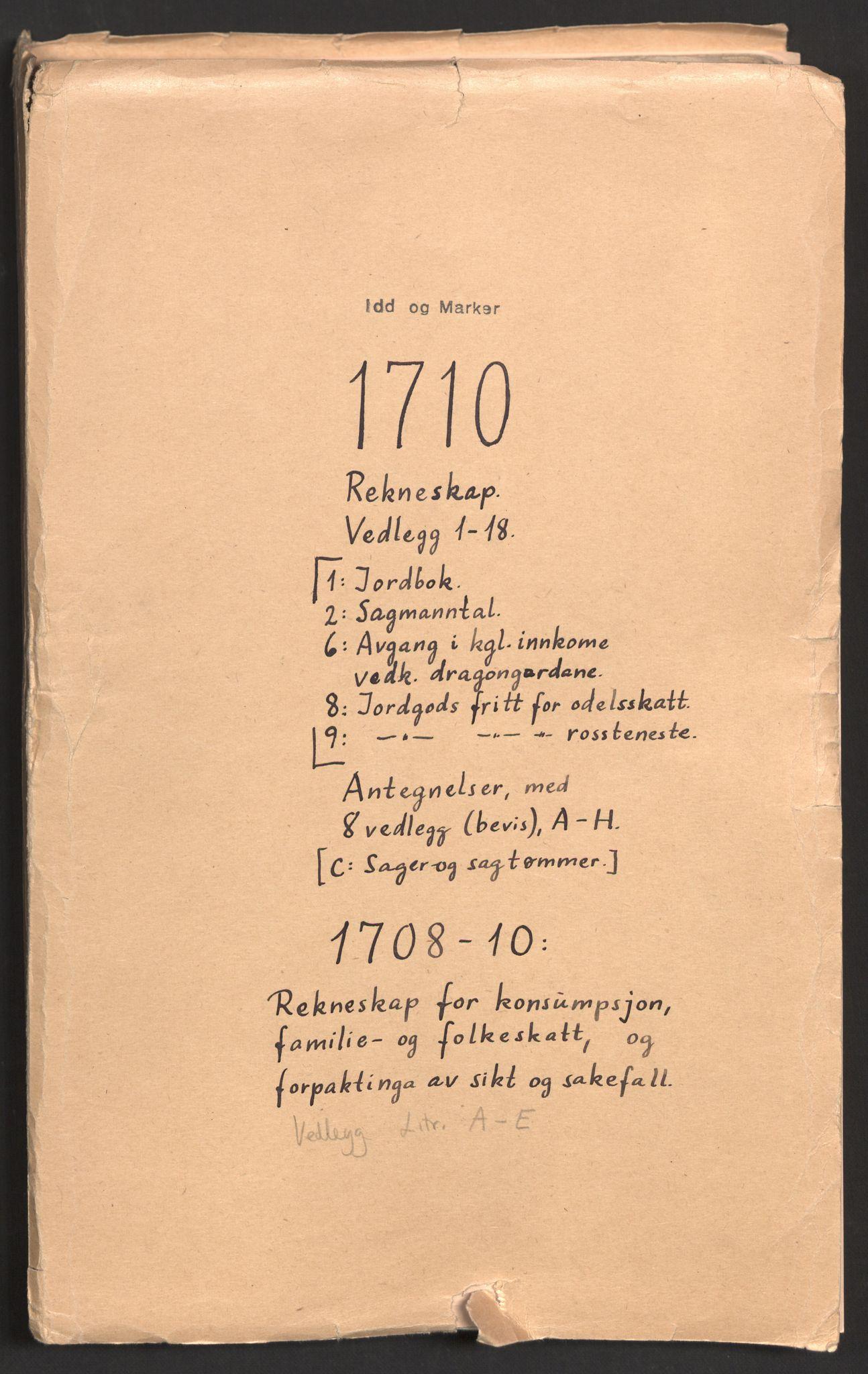 RA, Rentekammeret inntil 1814, Reviderte regnskaper, Fogderegnskap, R01/L0019: Fogderegnskap Idd og Marker, 1710, p. 2