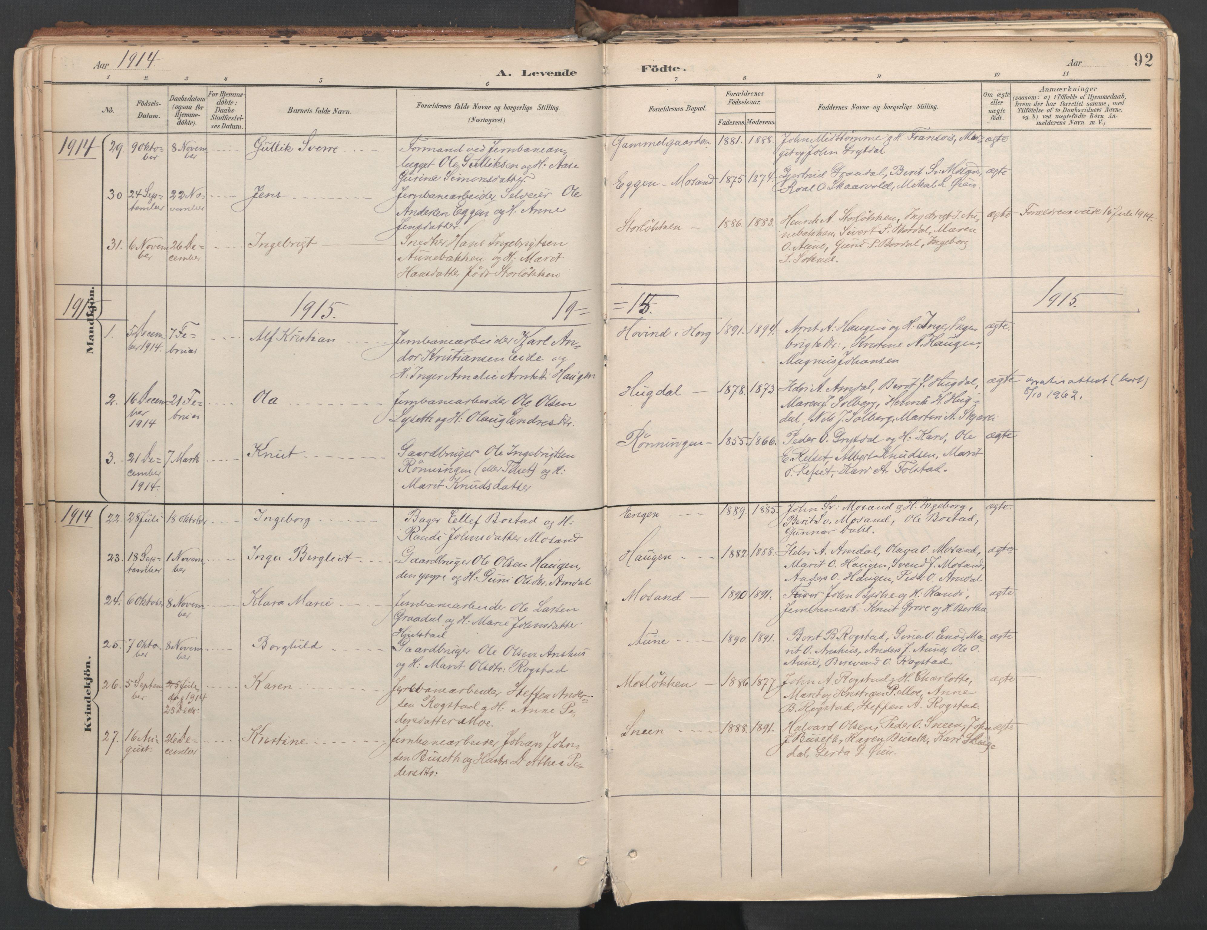 SAT, Ministerialprotokoller, klokkerbøker og fødselsregistre - Sør-Trøndelag, 687/L1004: Parish register (official) no. 687A10, 1891-1923, p. 92