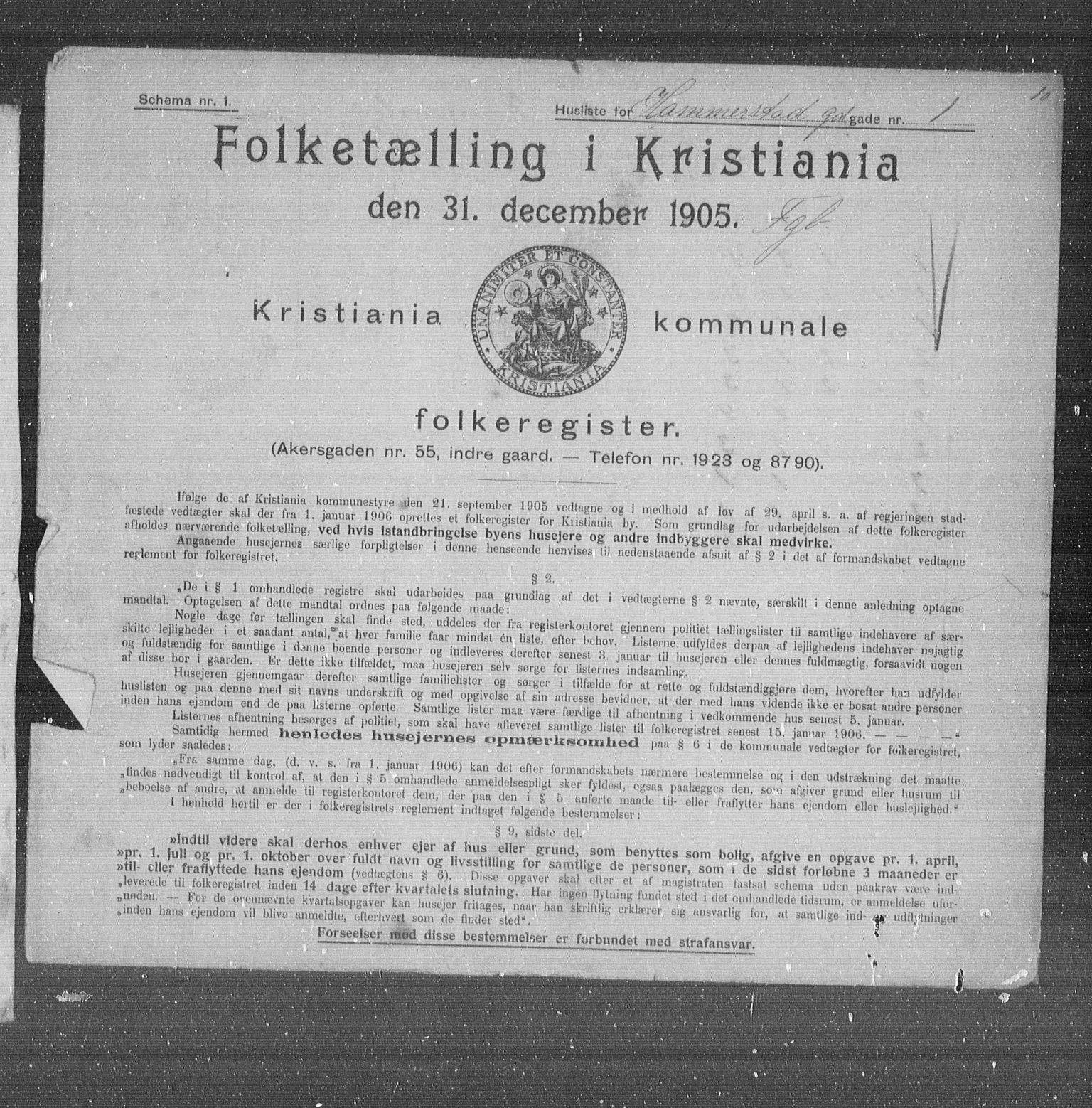 OBA, Municipal Census 1905 for Kristiania, 1905, p. 17752