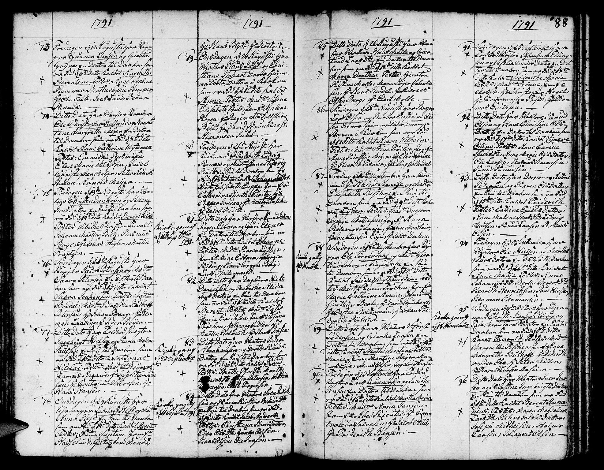 SAB, Nykirken Sokneprestembete, H/Haa: Parish register (official) no. A 5, 1775-1808, p. 88