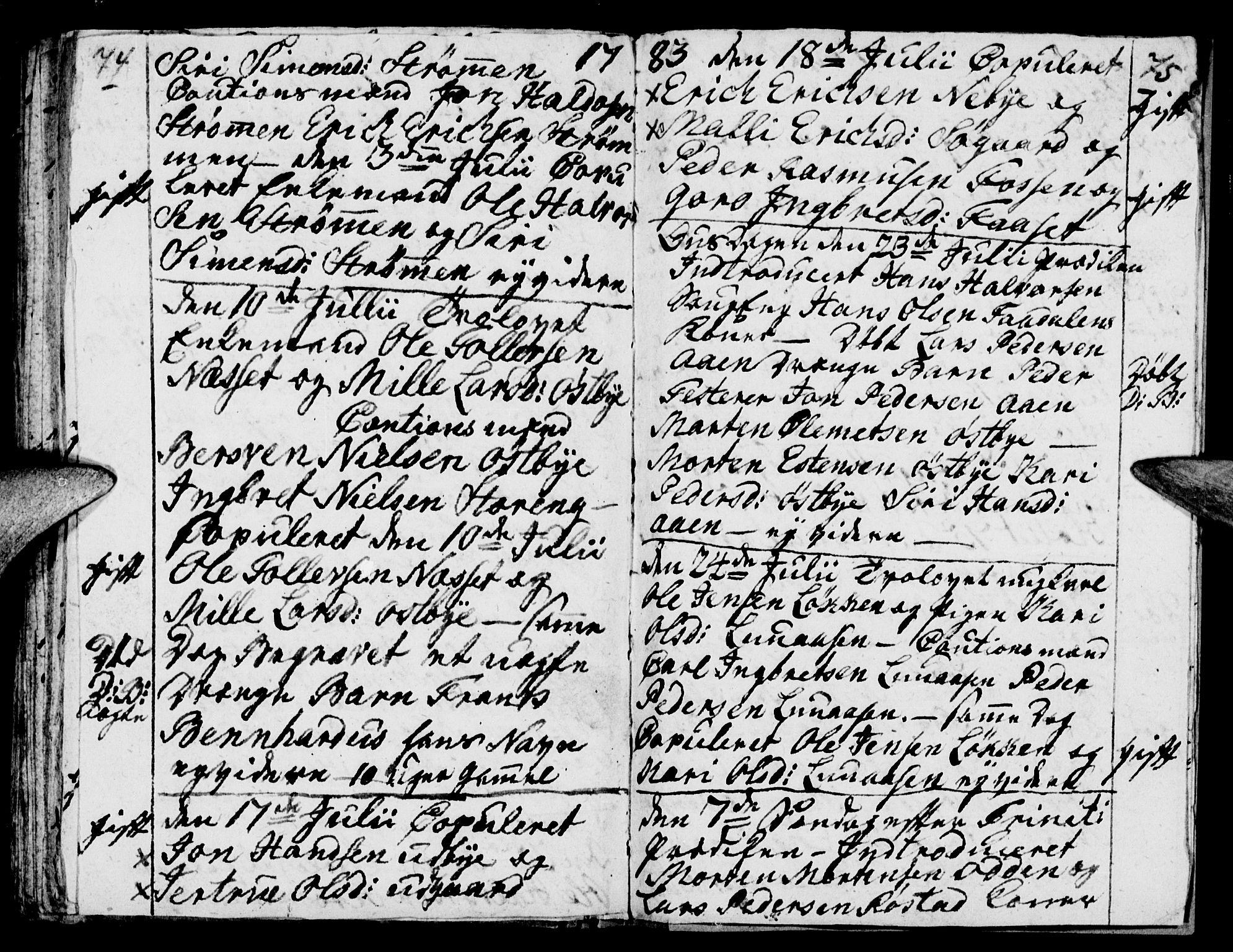 SAH, Tynset prestekontor, Parish register (official) no. 12, 1780-1784, p. 74-75