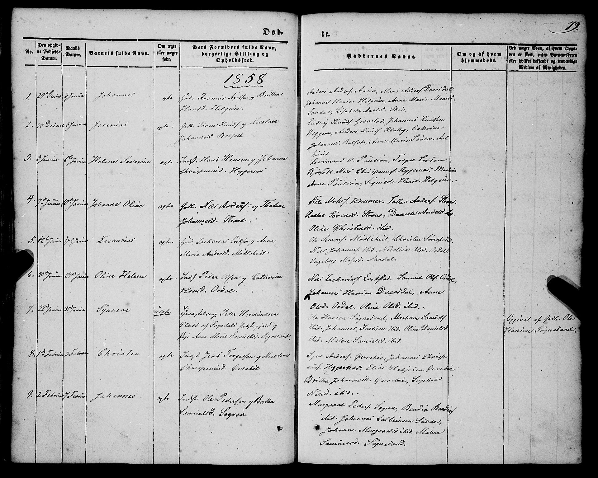 SAB, Jølster sokneprestembete, H/Haa/Haaa/L0010: Parish register (official) no. A 10, 1847-1865, p. 79