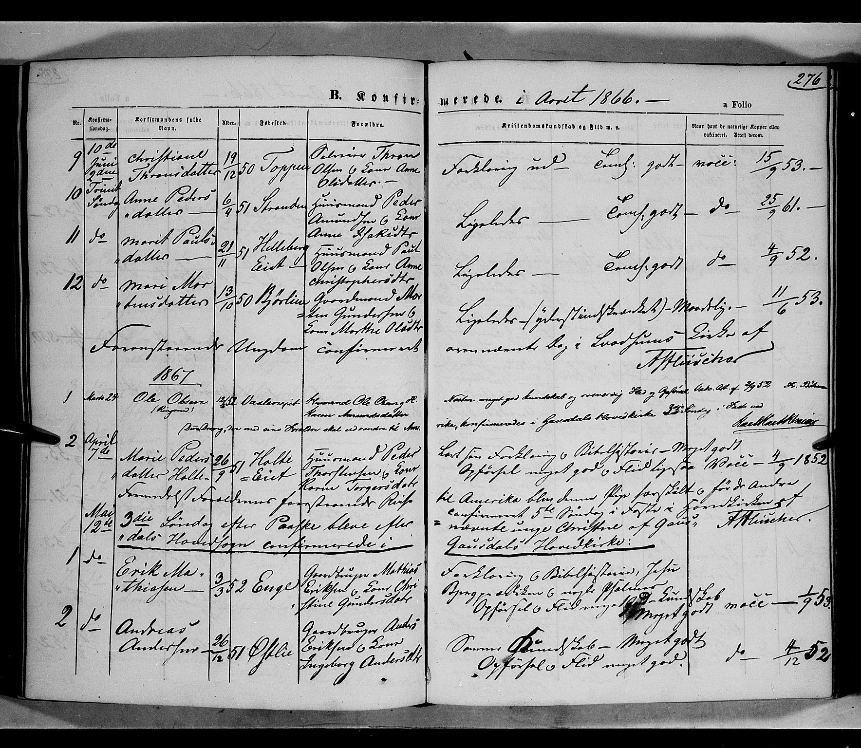 SAH, Gausdal prestekontor, Parish register (official) no. 9, 1862-1873, p. 276