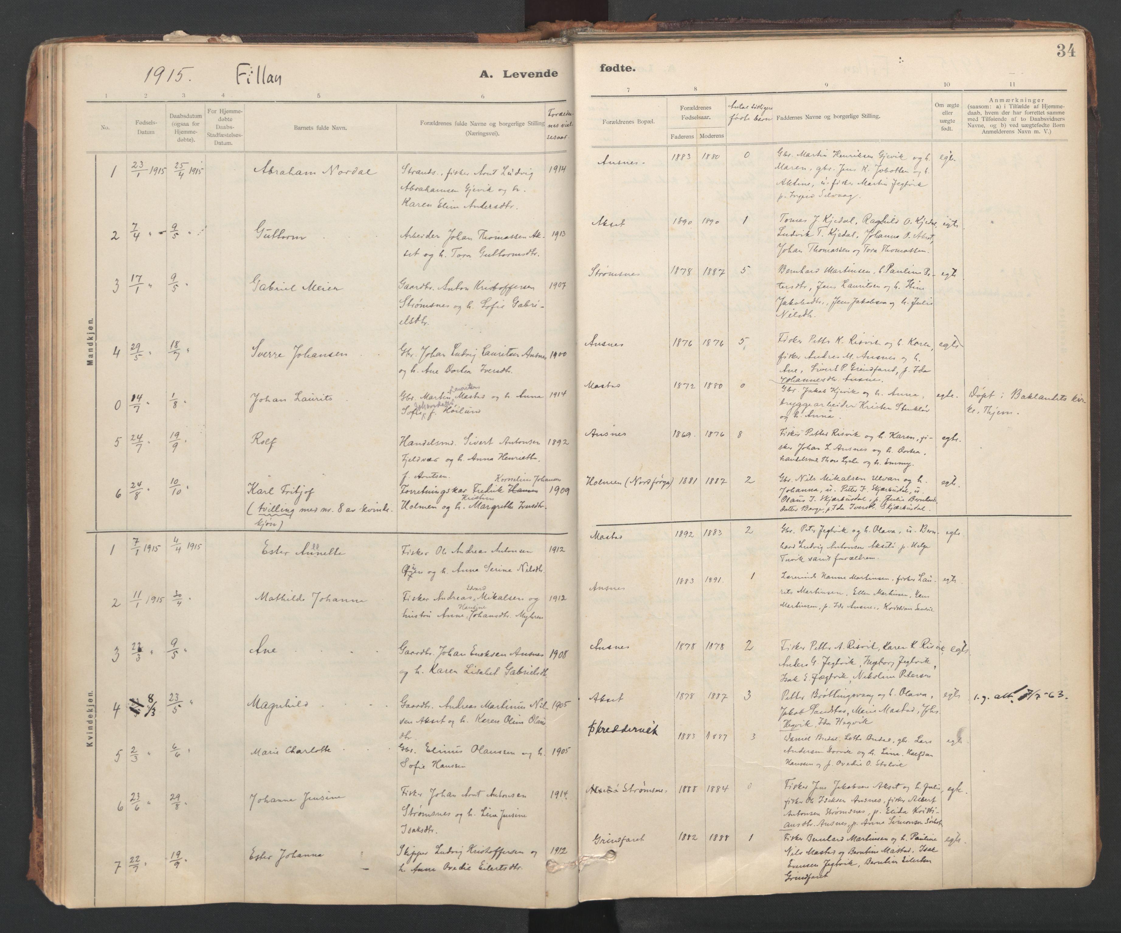 SAT, Ministerialprotokoller, klokkerbøker og fødselsregistre - Sør-Trøndelag, 637/L0559: Parish register (official) no. 637A02, 1899-1923, p. 34