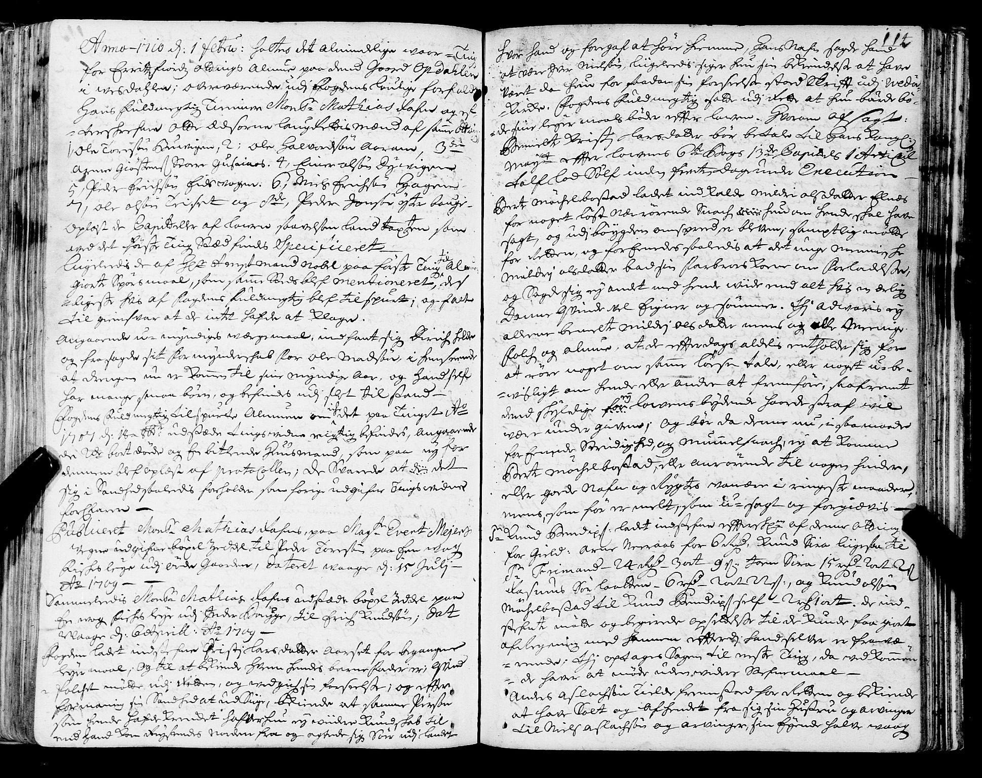 SAT, Romsdal sorenskriveri, 1/1A/L0006: Tingbok, 1707-1711, p. 113b-114a