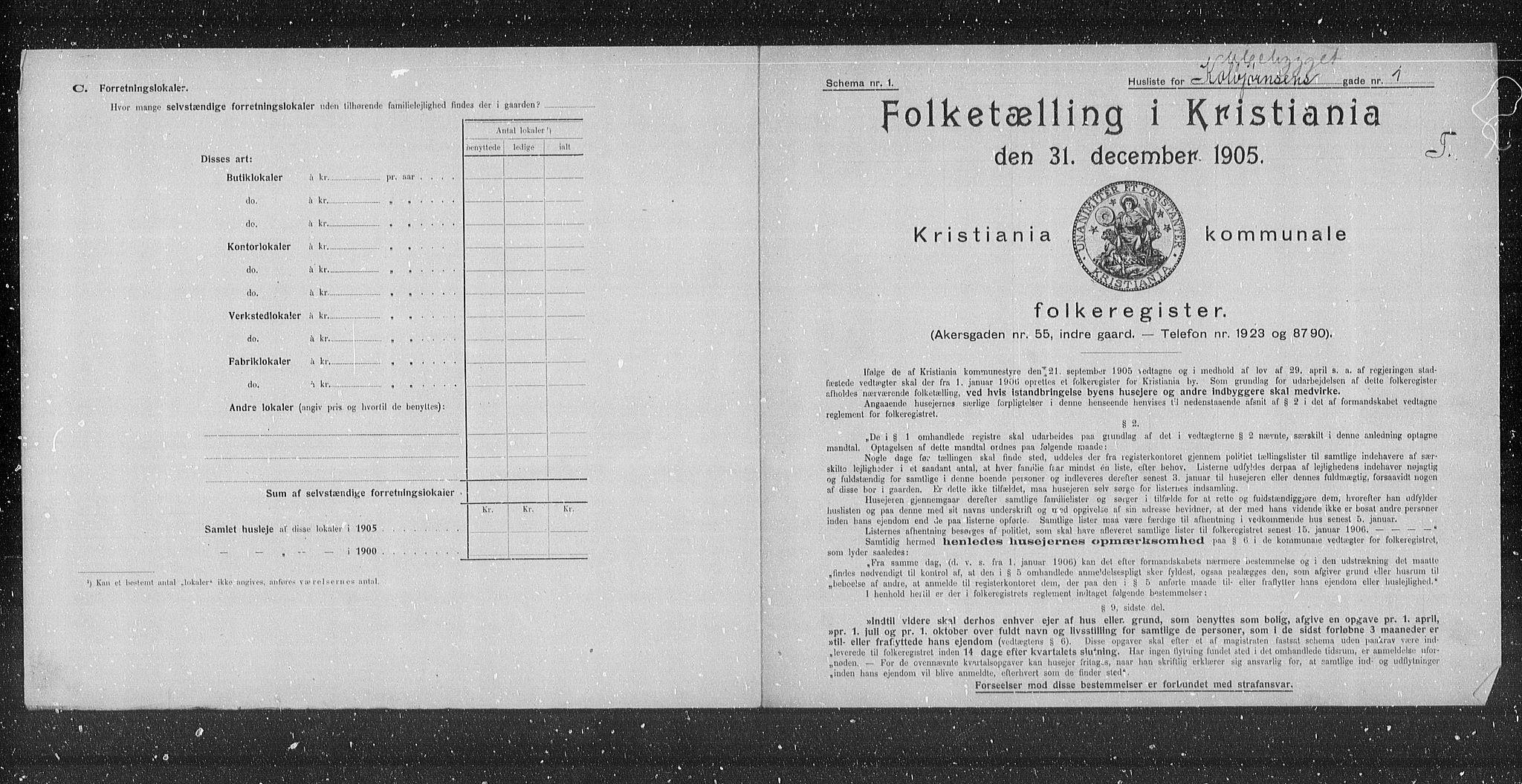 OBA, Municipal Census 1905 for Kristiania, 1905, p. 6701