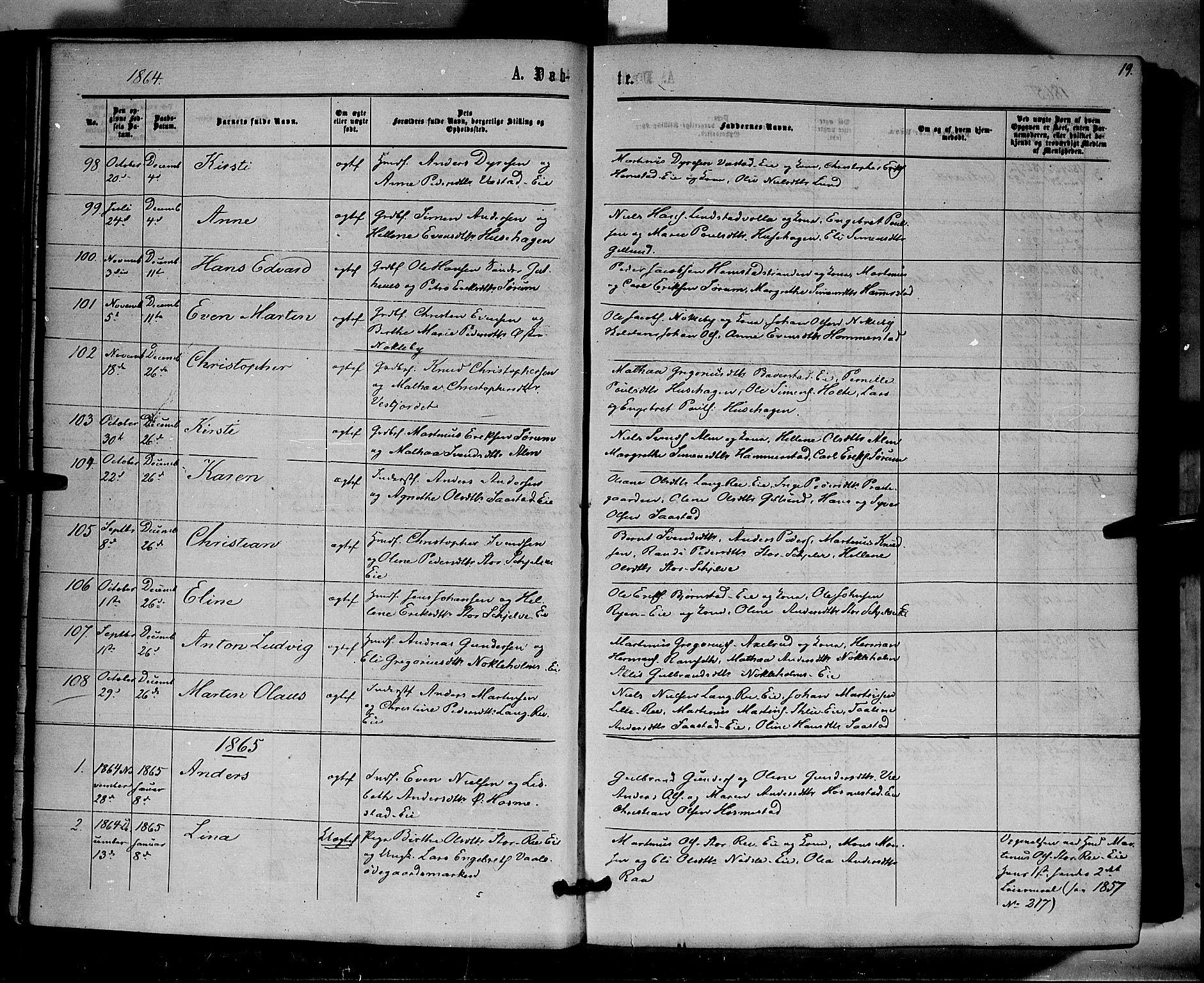 SAH, Stange prestekontor, K/L0013: Parish register (official) no. 13, 1862-1879, p. 19