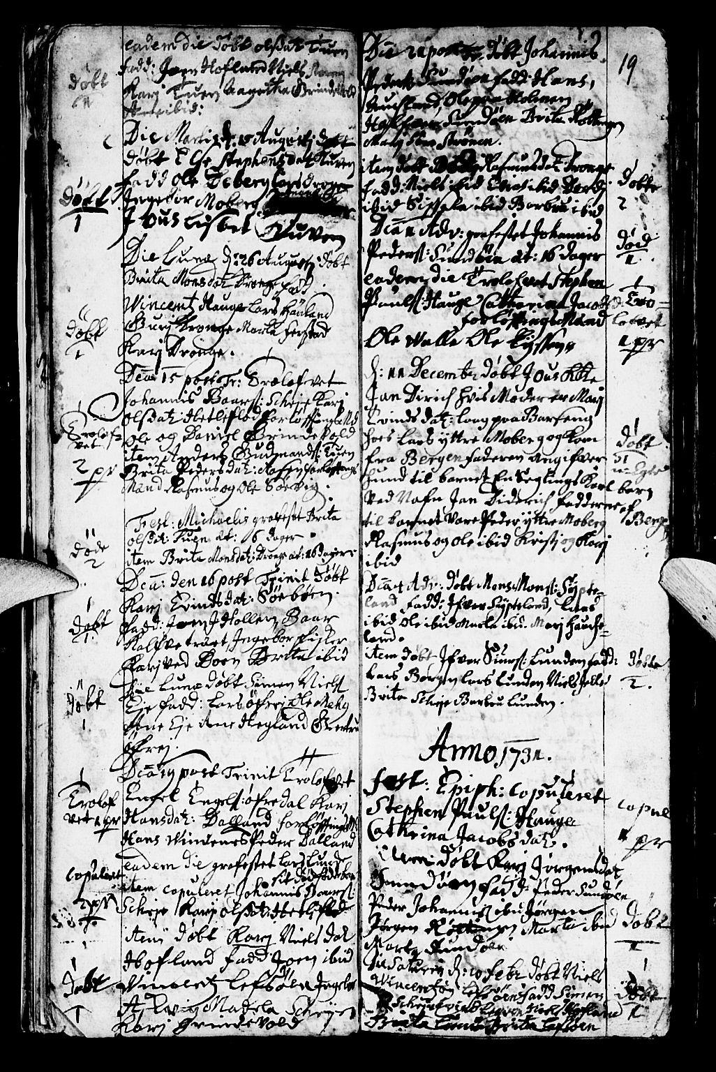 SAB, Os sokneprestembete*, Parish register (official) no. A 2, 1723-1758, p. 19