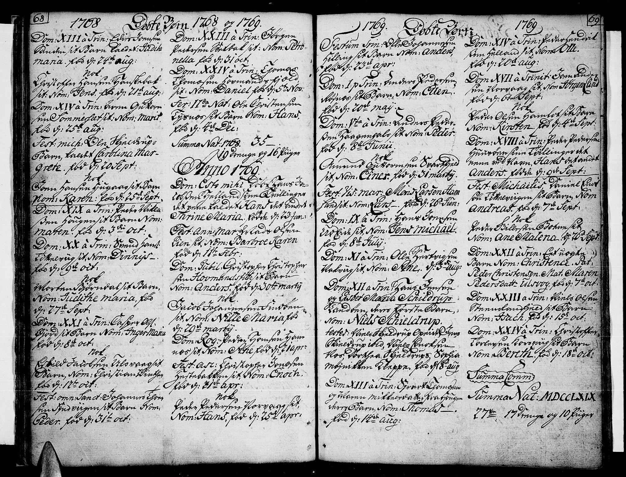 SAT, Ministerialprotokoller, klokkerbøker og fødselsregistre - Nordland, 859/L0841: Parish register (official) no. 859A01, 1766-1821, p. 68-69