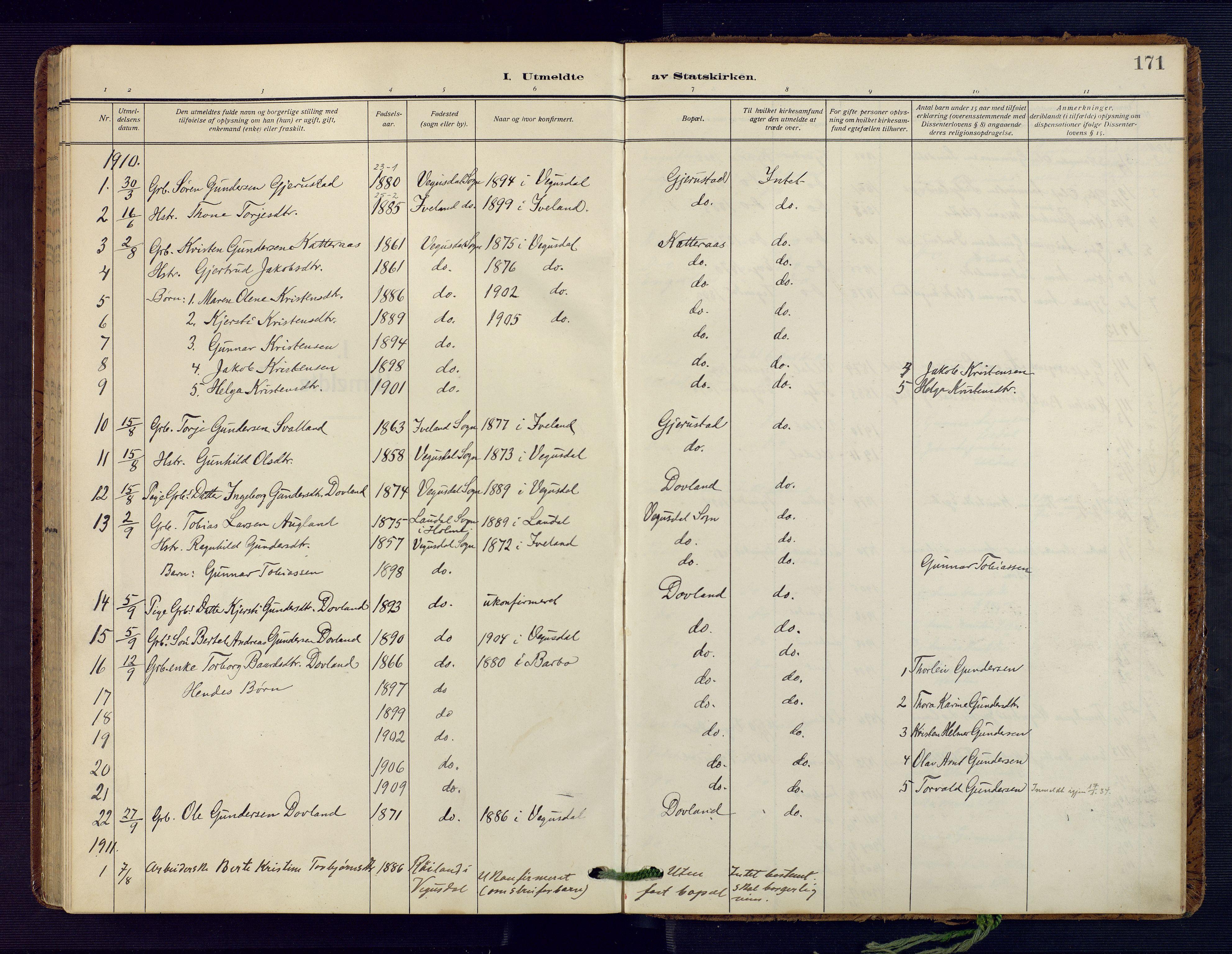 SAK, Herefoss sokneprestkontor, F/Fa/Fab/L0005: Parish register (official) no. A 5, 1910-1932, p. 171