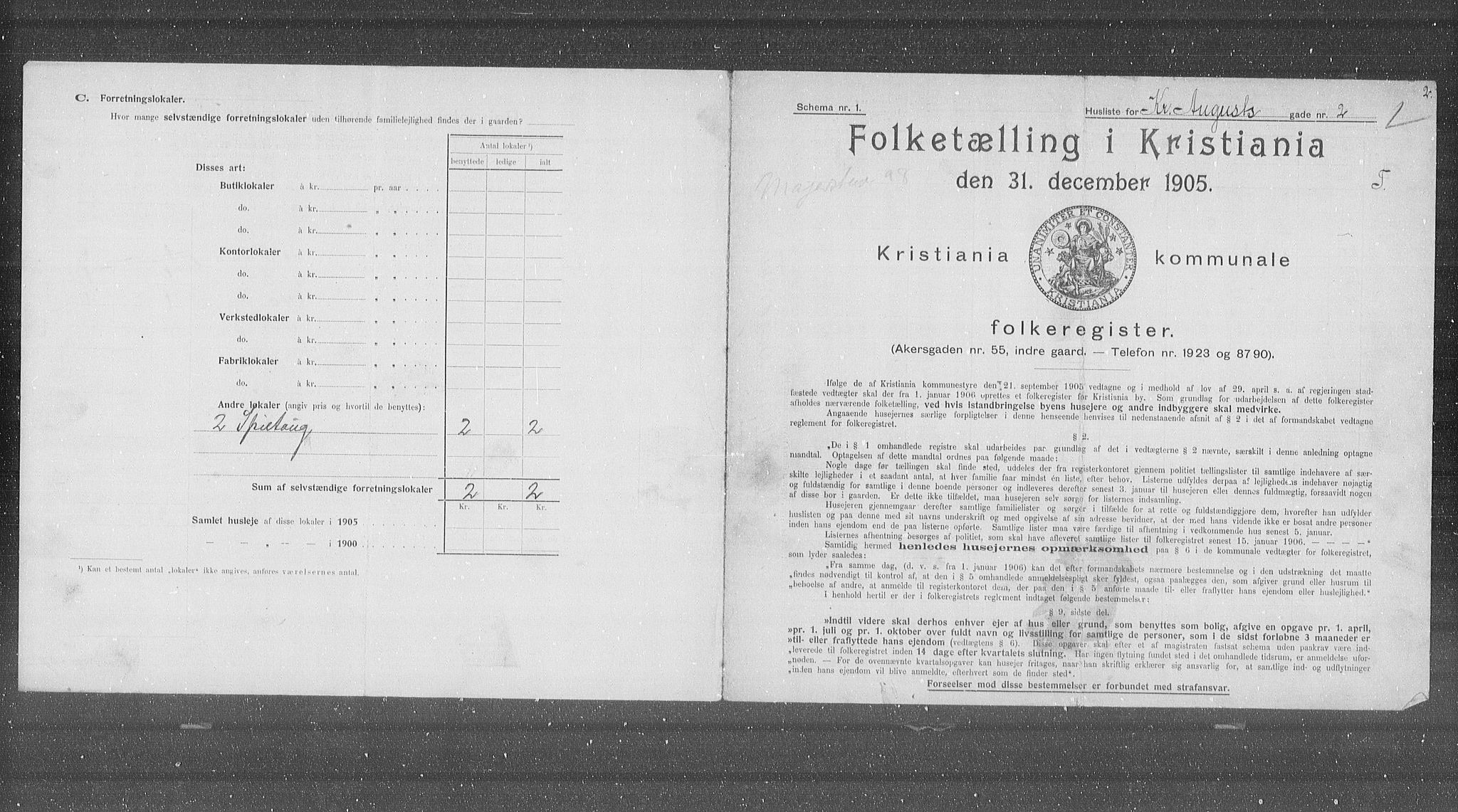 OBA, Municipal Census 1905 for Kristiania, 1905, p. 28458