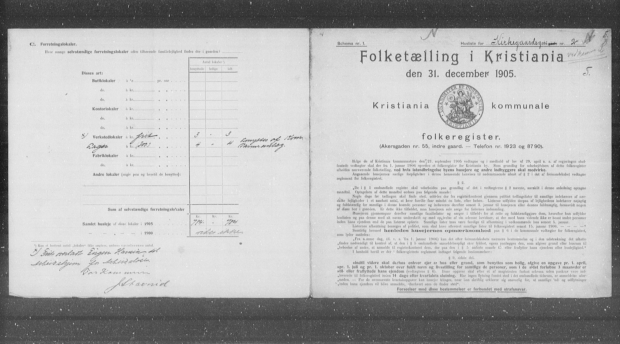 OBA, Municipal Census 1905 for Kristiania, 1905, p. 26604
