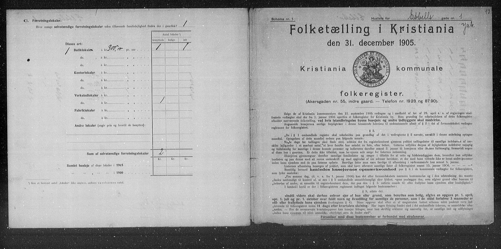 OBA, Municipal Census 1905 for Kristiania, 1905, p. 9415