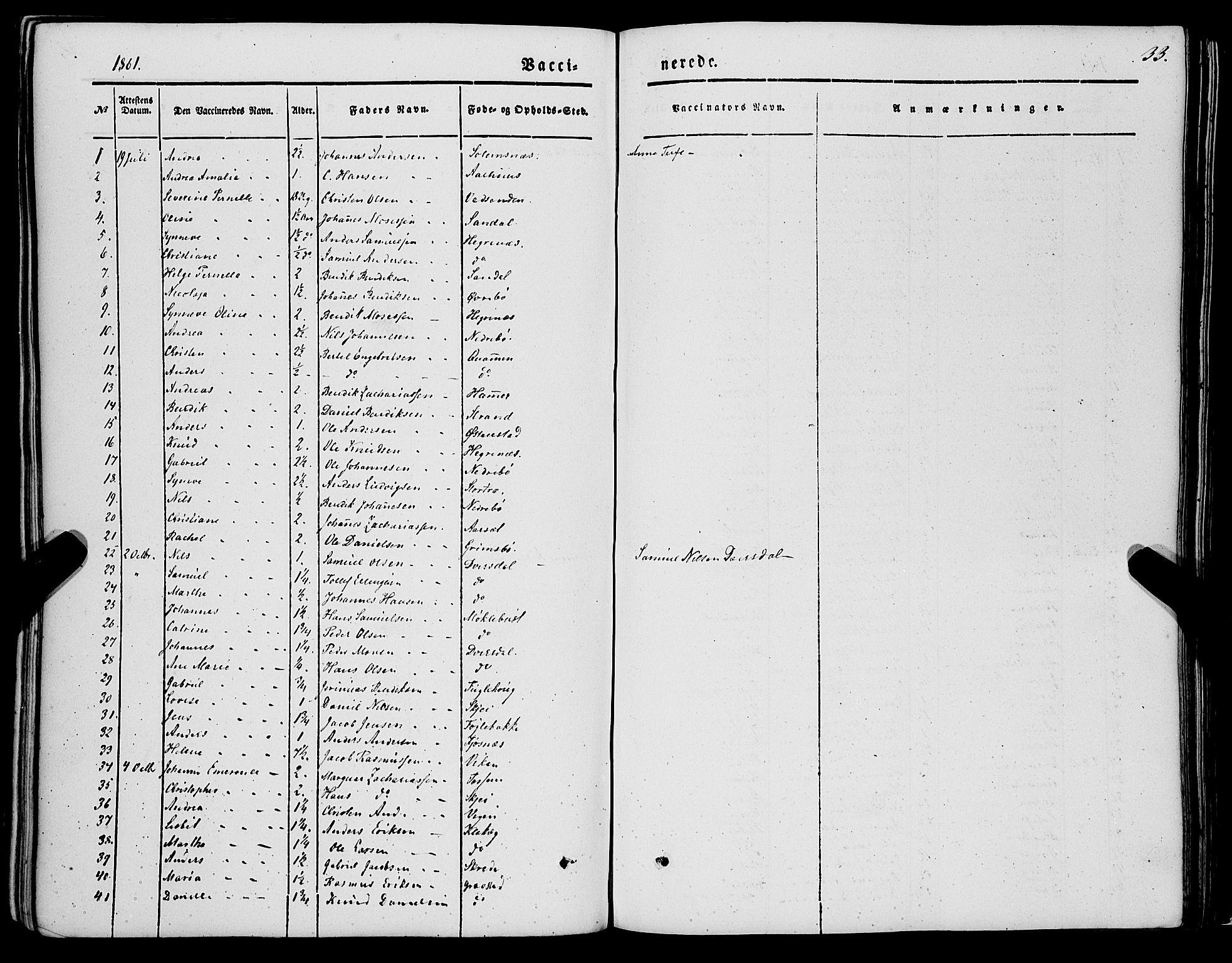 SAB, Jølster sokneprestembete, H/Haa/Haaa/L0010: Parish register (official) no. A 10, 1847-1865, p. 33