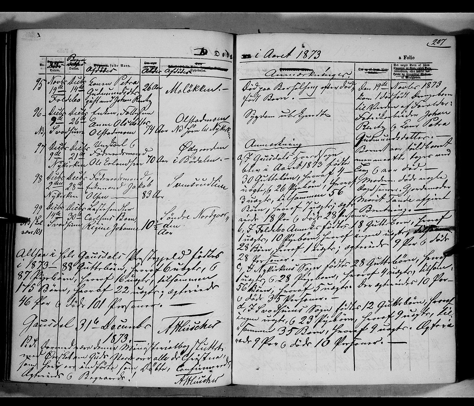 SAH, Gausdal prestekontor, Parish register (official) no. 9, 1862-1873, p. 207