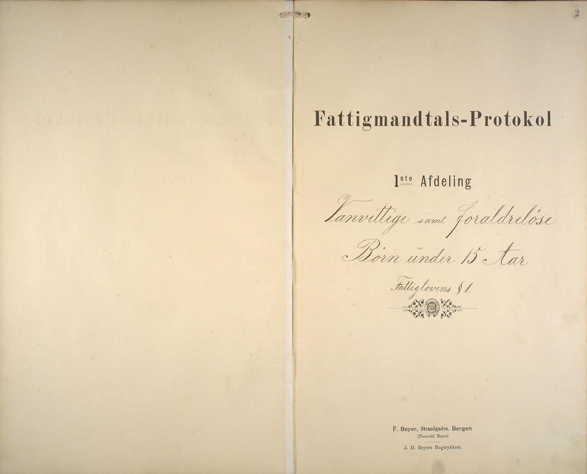 BBA, Bergen fattigvesen, 1891-1895, p. 2