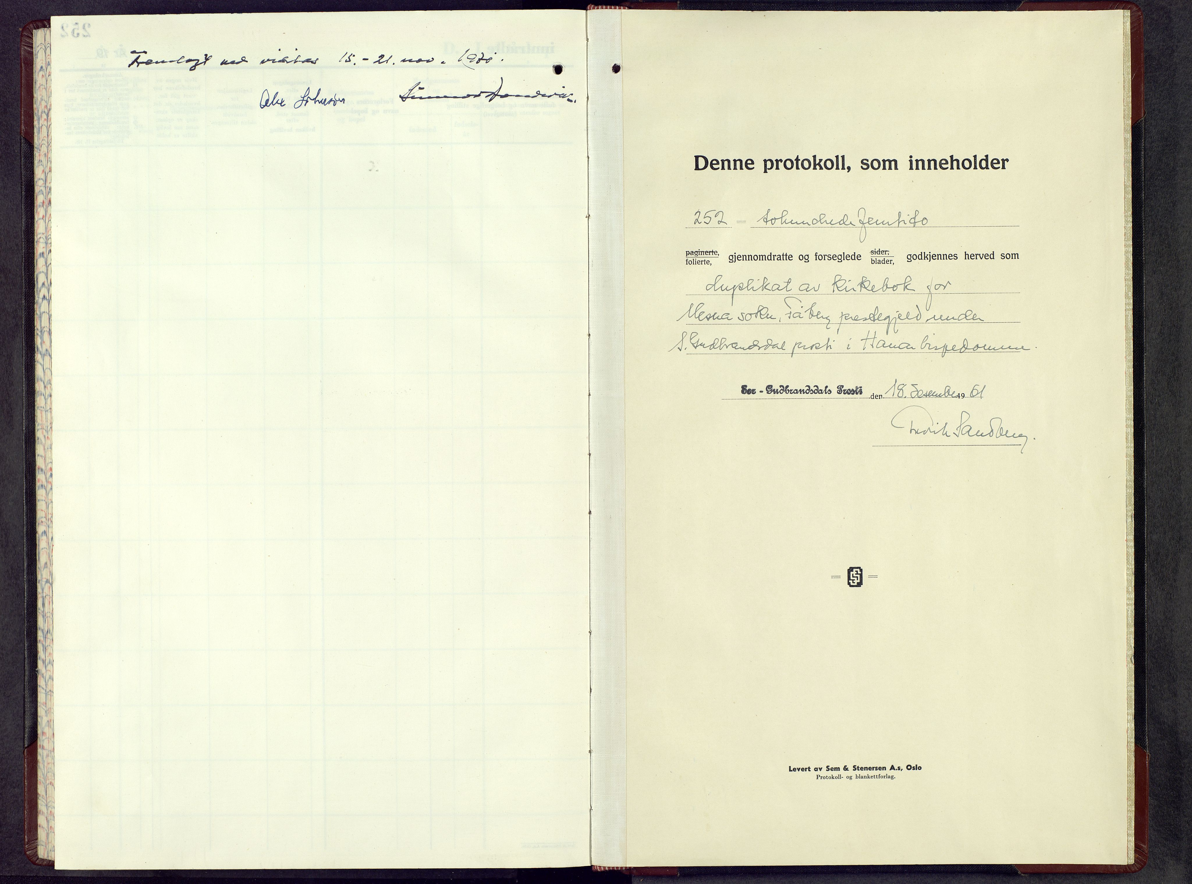 SAH, Fåberg prestekontor, H/Ha/Hab/L0020: Parish register (copy) no. 20, 1961-1968