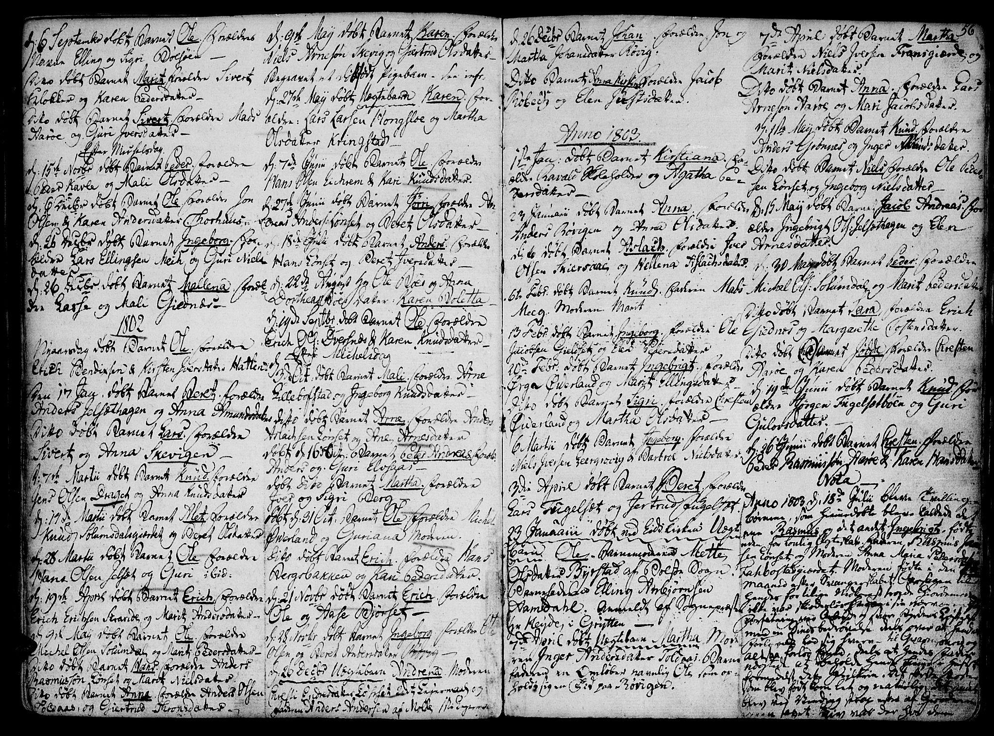 SAT, Ministerialprotokoller, klokkerbøker og fødselsregistre - Møre og Romsdal, 555/L0649: Parish register (official) no. 555A02 /1, 1795-1821, p. 56
