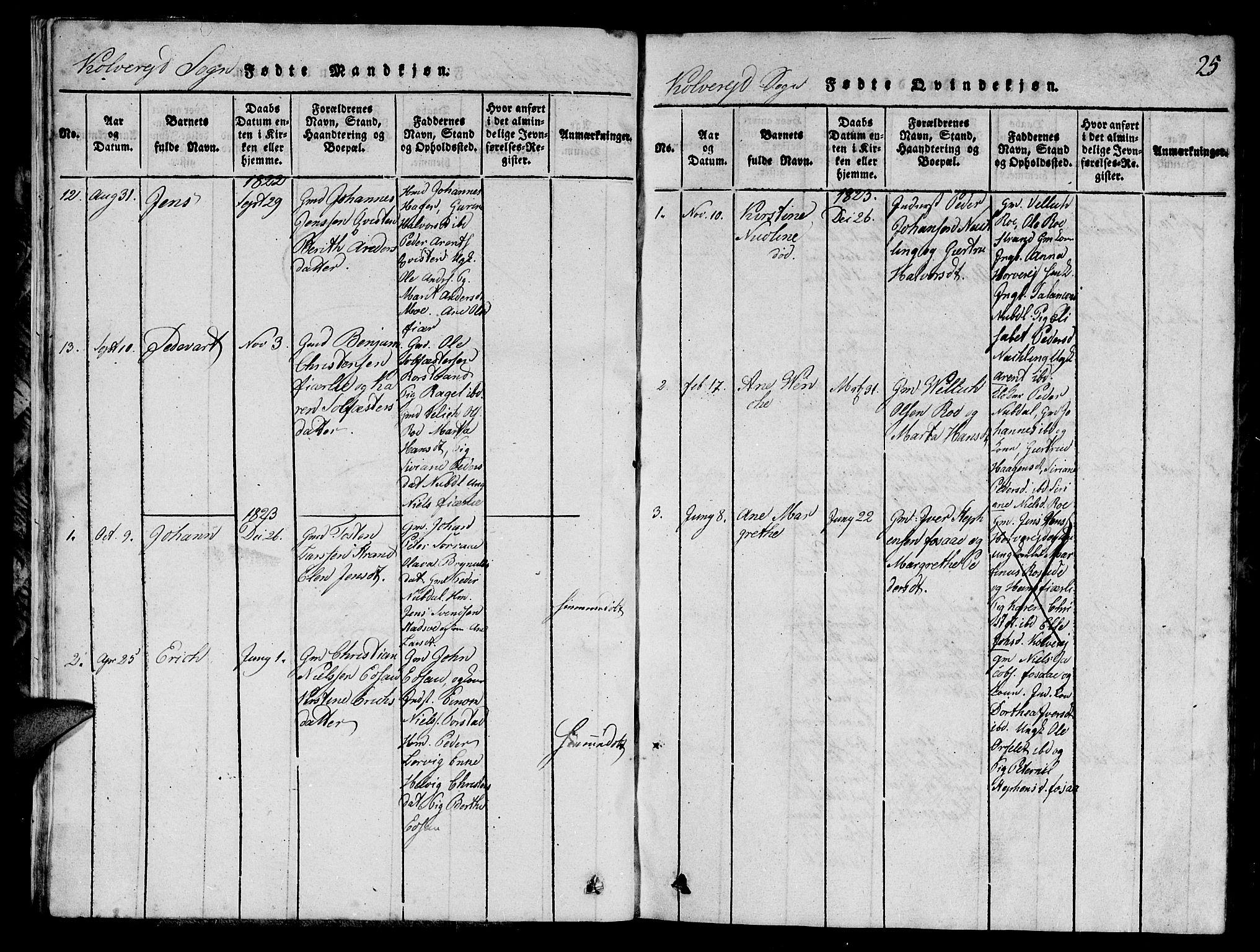 SAT, Ministerialprotokoller, klokkerbøker og fødselsregistre - Nord-Trøndelag, 780/L0648: Parish register (copy) no. 780C01 /1, 1815-1870, p. 25