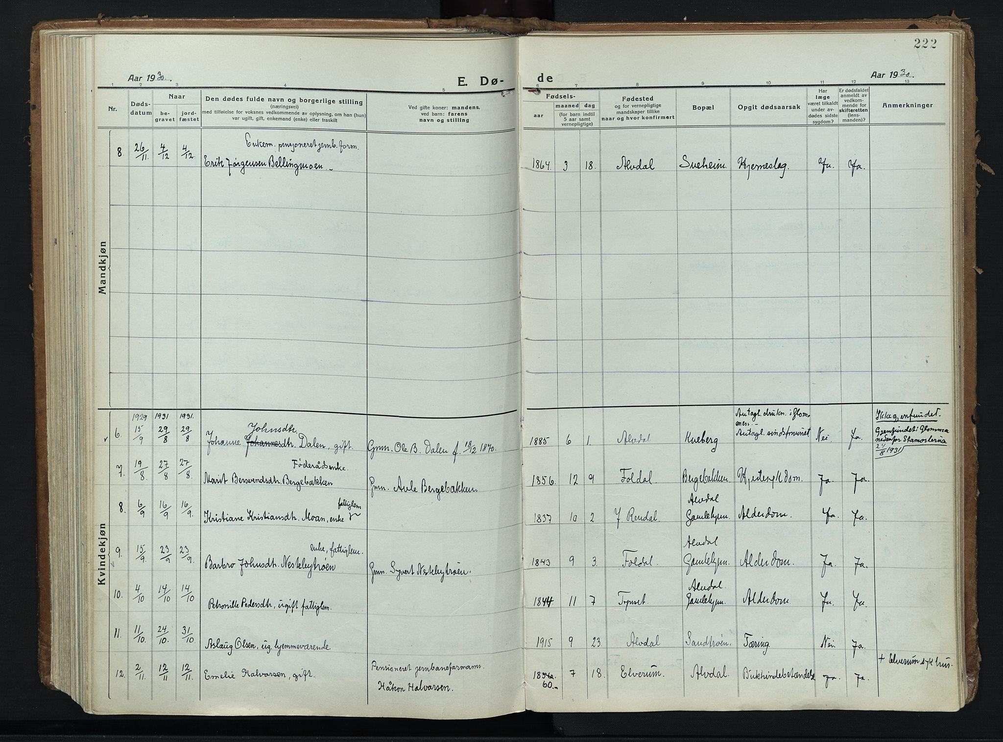 SAH, Alvdal prestekontor, Parish register (official) no. 6, 1920-1937, p. 222