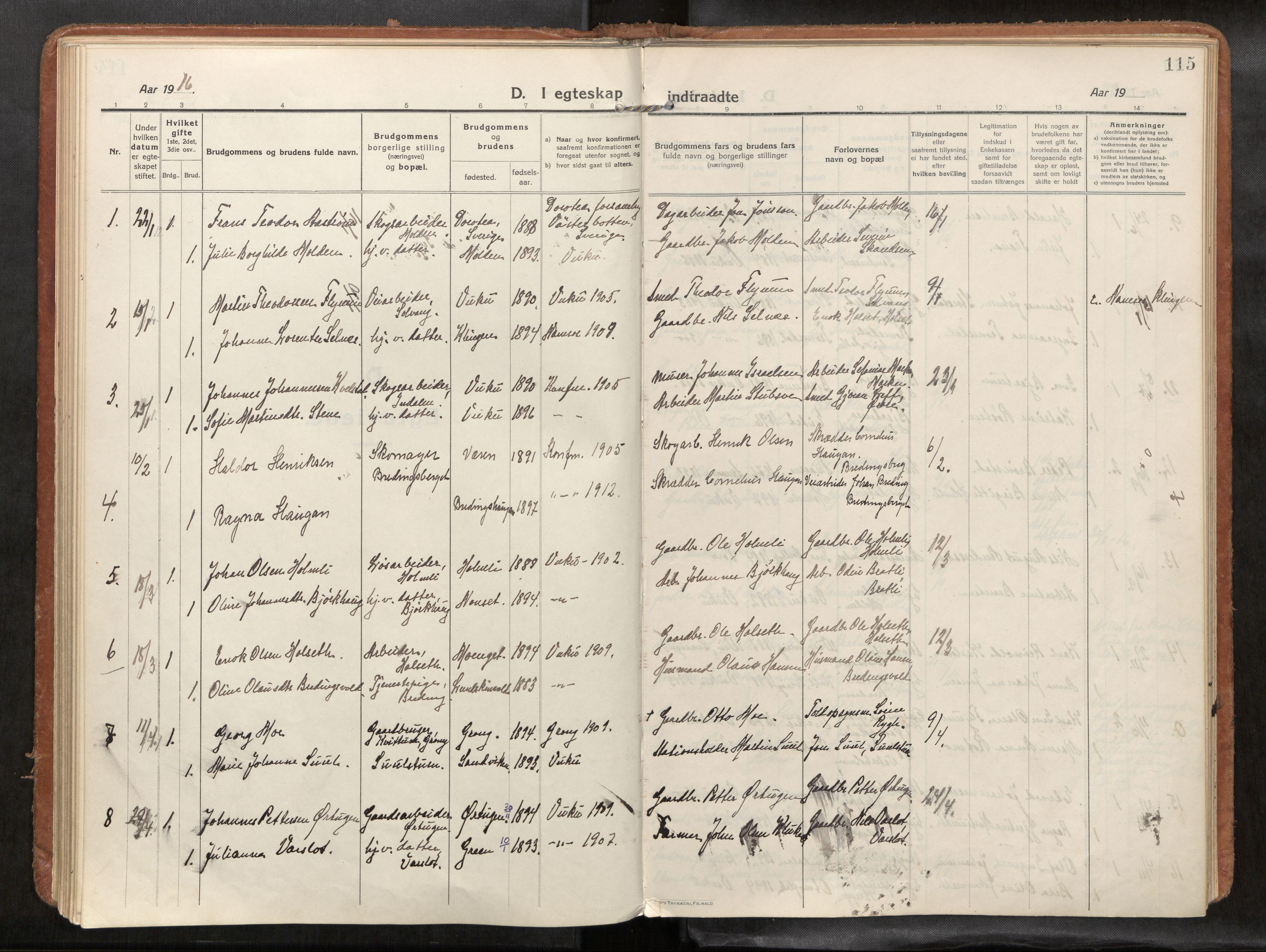 SAT, Verdal sokneprestkontor*, Parish register (official) no. 1, 1916-1928, p. 115