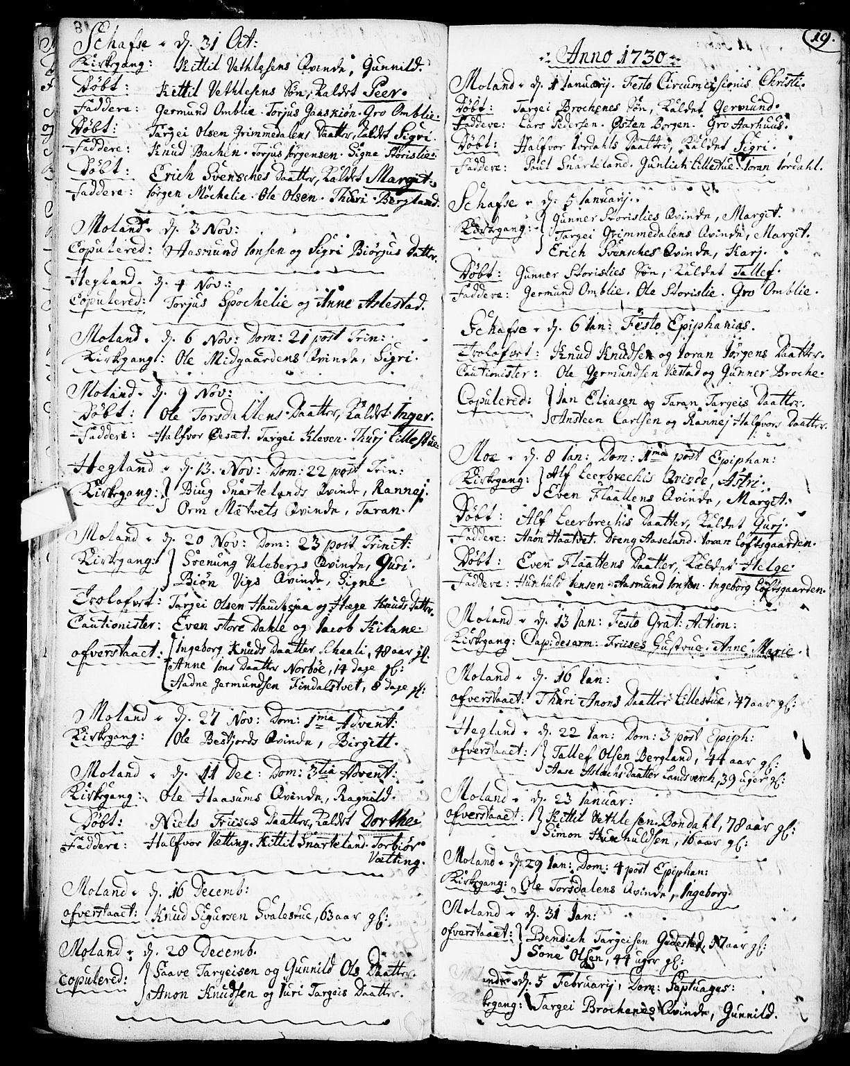 SAKO, Fyresdal kirkebøker, F/Fa/L0001: Parish register (official) no. I 1, 1724-1748, p. 19