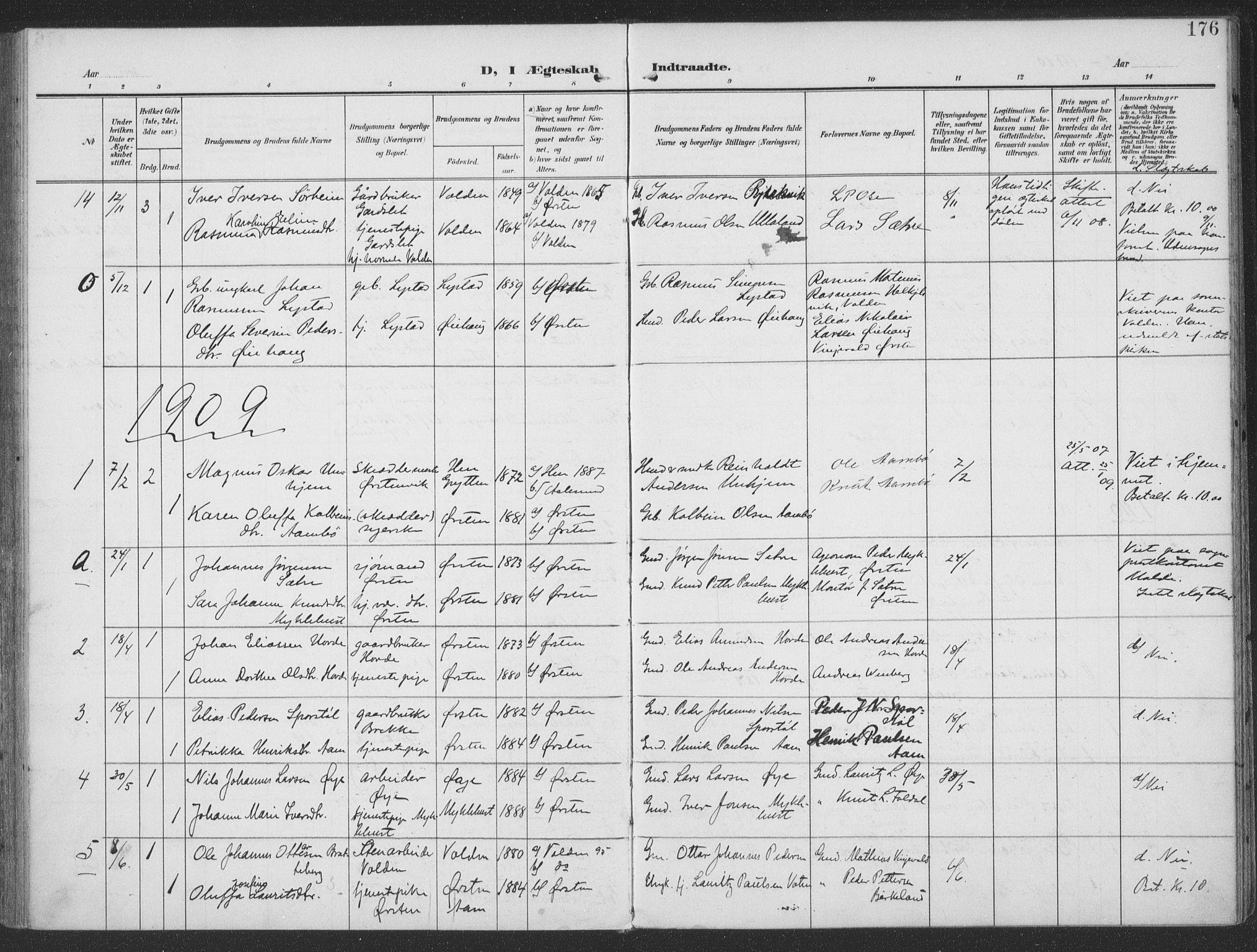SAT, Ministerialprotokoller, klokkerbøker og fødselsregistre - Møre og Romsdal, 513/L0178: Parish register (official) no. 513A05, 1906-1919, p. 176