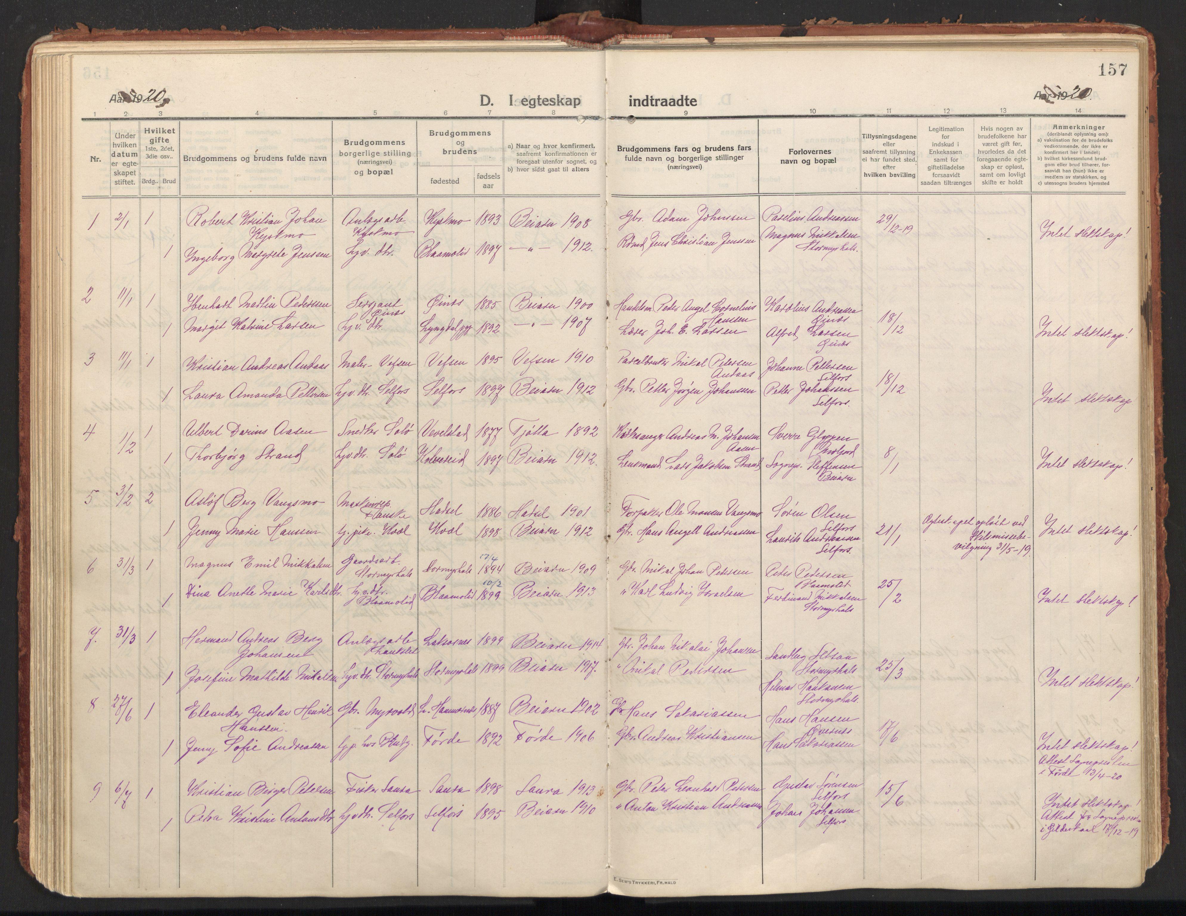 SAT, Ministerialprotokoller, klokkerbøker og fødselsregistre - Nordland, 846/L0650: Parish register (official) no. 846A08, 1916-1935, p. 157