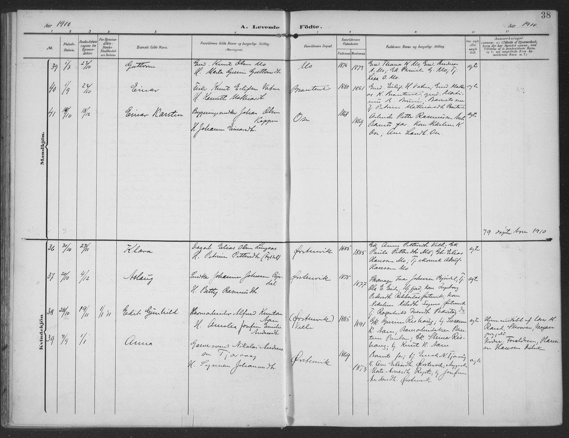 SAT, Ministerialprotokoller, klokkerbøker og fødselsregistre - Møre og Romsdal, 513/L0178: Parish register (official) no. 513A05, 1906-1919, p. 38