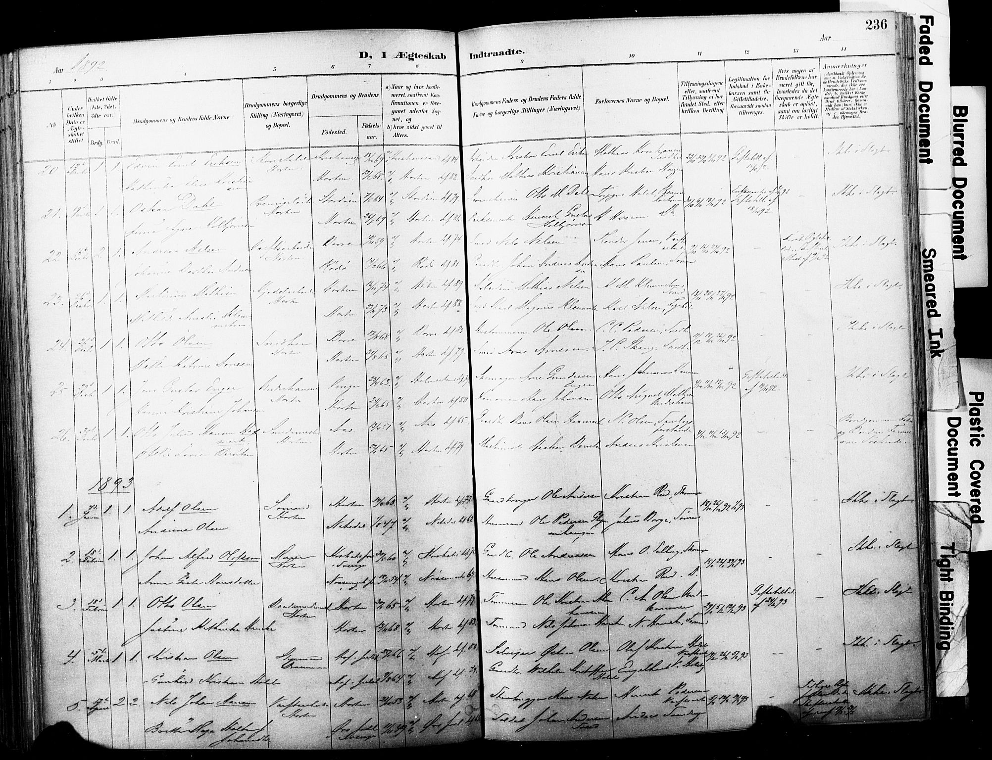 SAKO, Horten kirkebøker, F/Fa/L0004: Parish register (official) no. 4, 1888-1895, p. 236