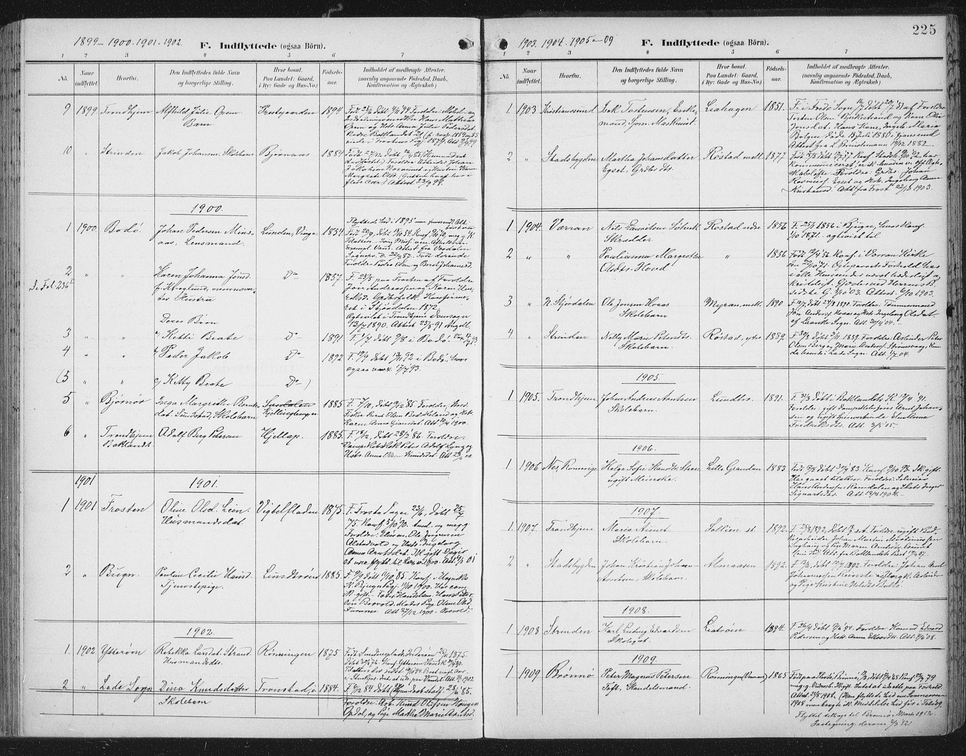 SAT, Ministerialprotokoller, klokkerbøker og fødselsregistre - Nord-Trøndelag, 701/L0011: Parish register (official) no. 701A11, 1899-1915, p. 225
