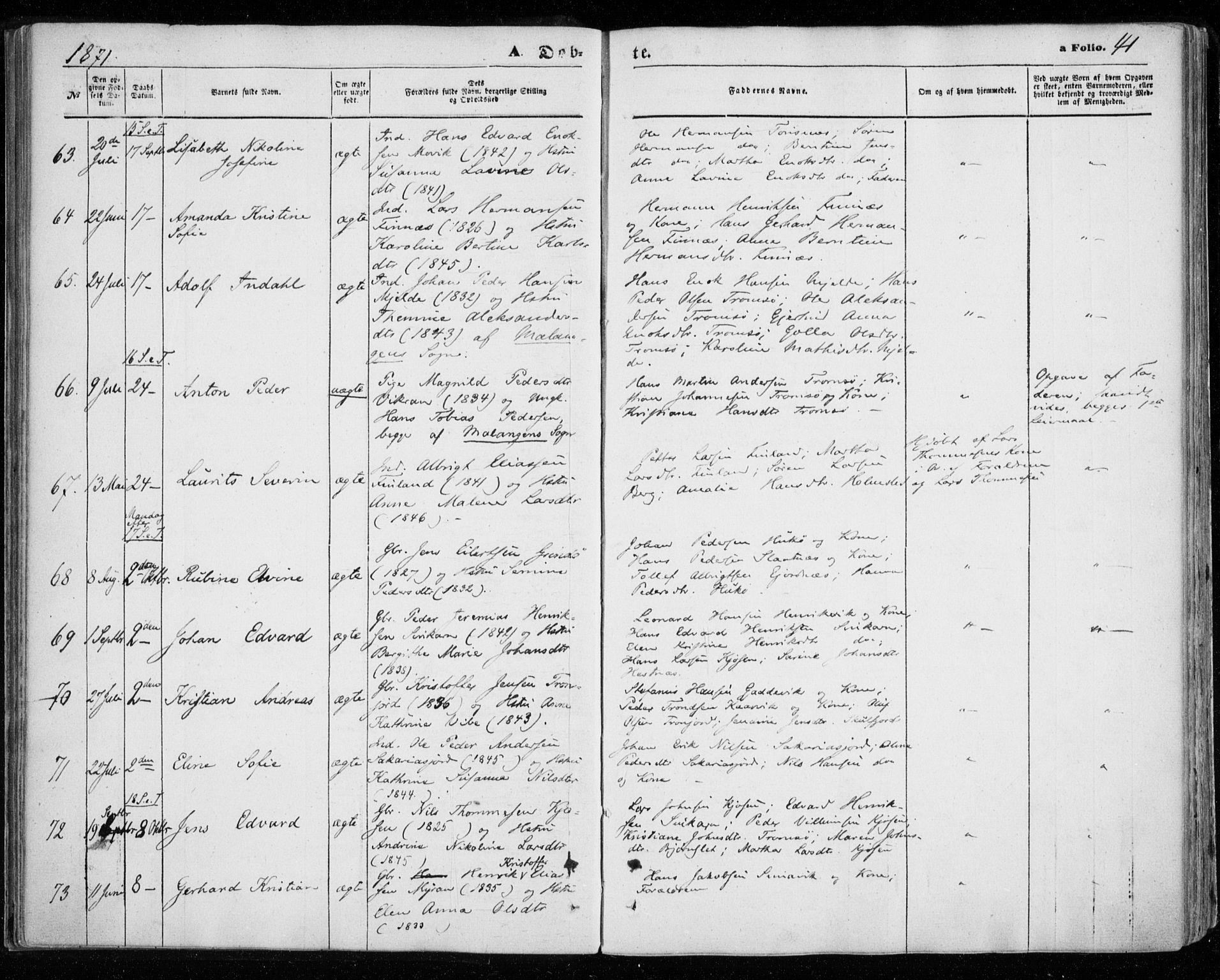 SATØ, Tromsøysund sokneprestkontor, G/Ga/L0002kirke: Parish register (official) no. 2, 1867-1875, p. 41