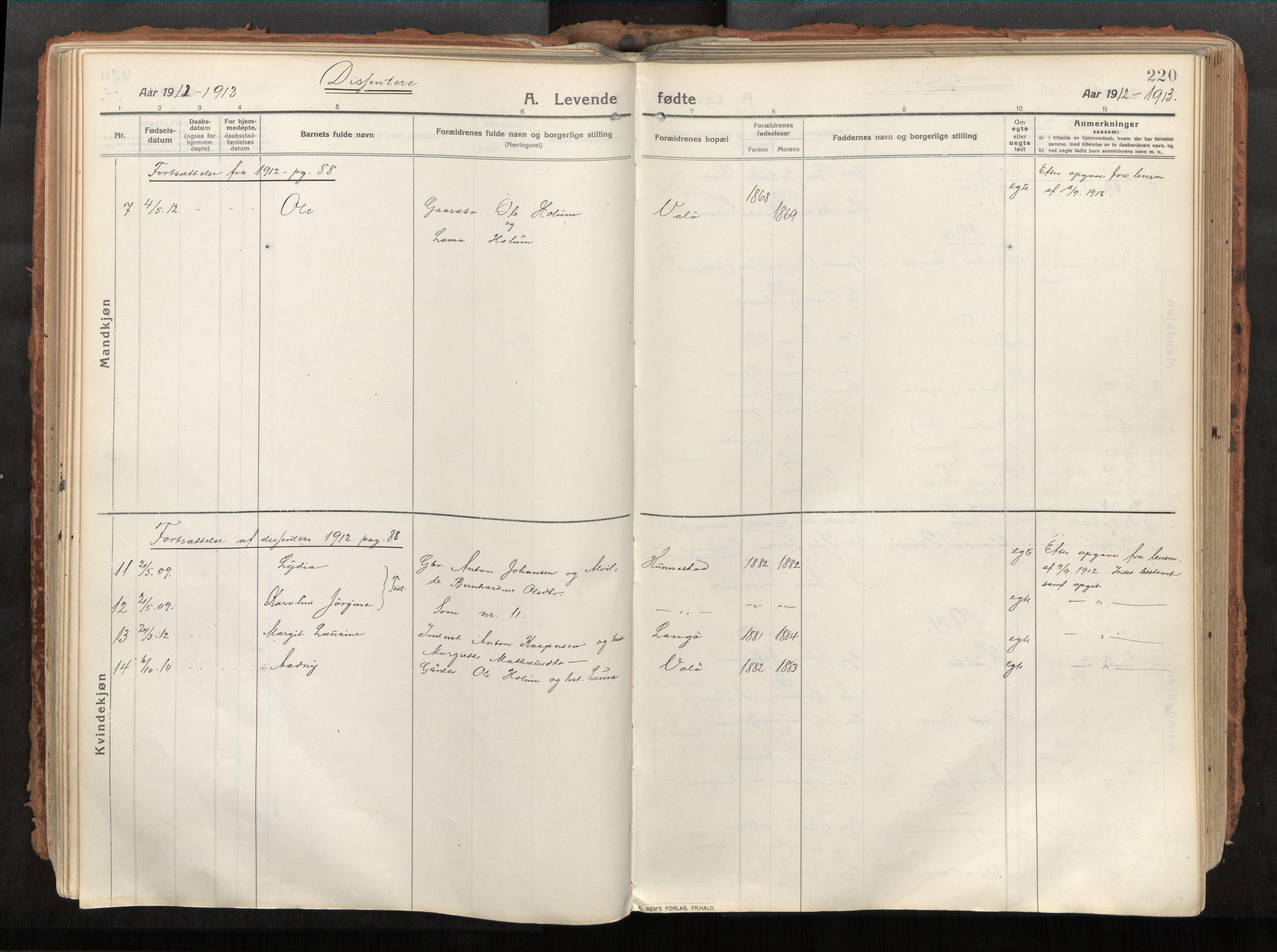 SAT, Vikna sokneprestkontor*, Parish register (official) no. 1, 1913-1934, p. 220