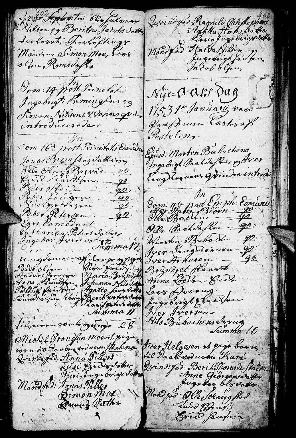 SAH, Kvikne prestekontor, Parish register (official) no. 1, 1740-1756, p. 302-303