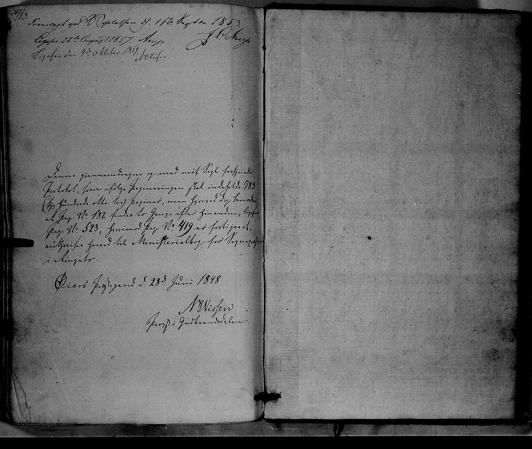 SAH, Ringebu prestekontor, Parish register (official) no. 6, 1848-1859, p. 783-784
