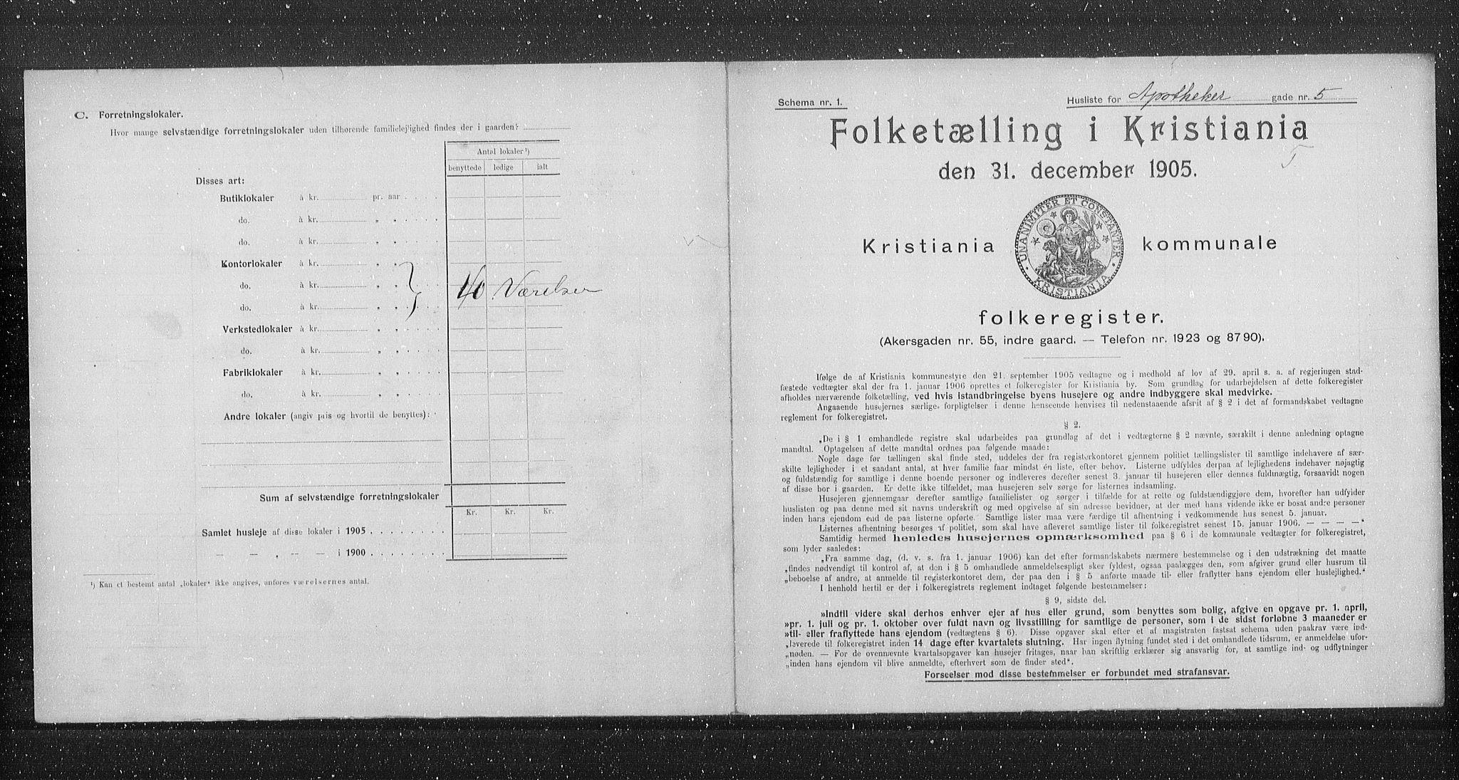 OBA, Municipal Census 1905 for Kristiania, 1905, p. 734