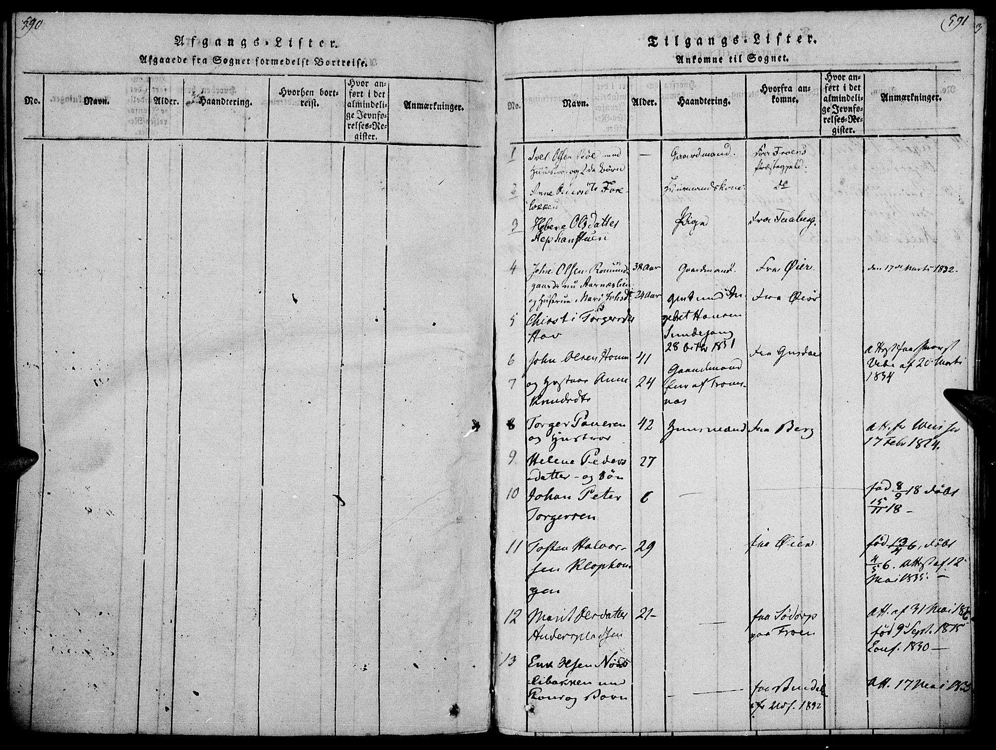 SAH, Ringebu prestekontor, Parish register (official) no. 4, 1821-1839, p. 590-591