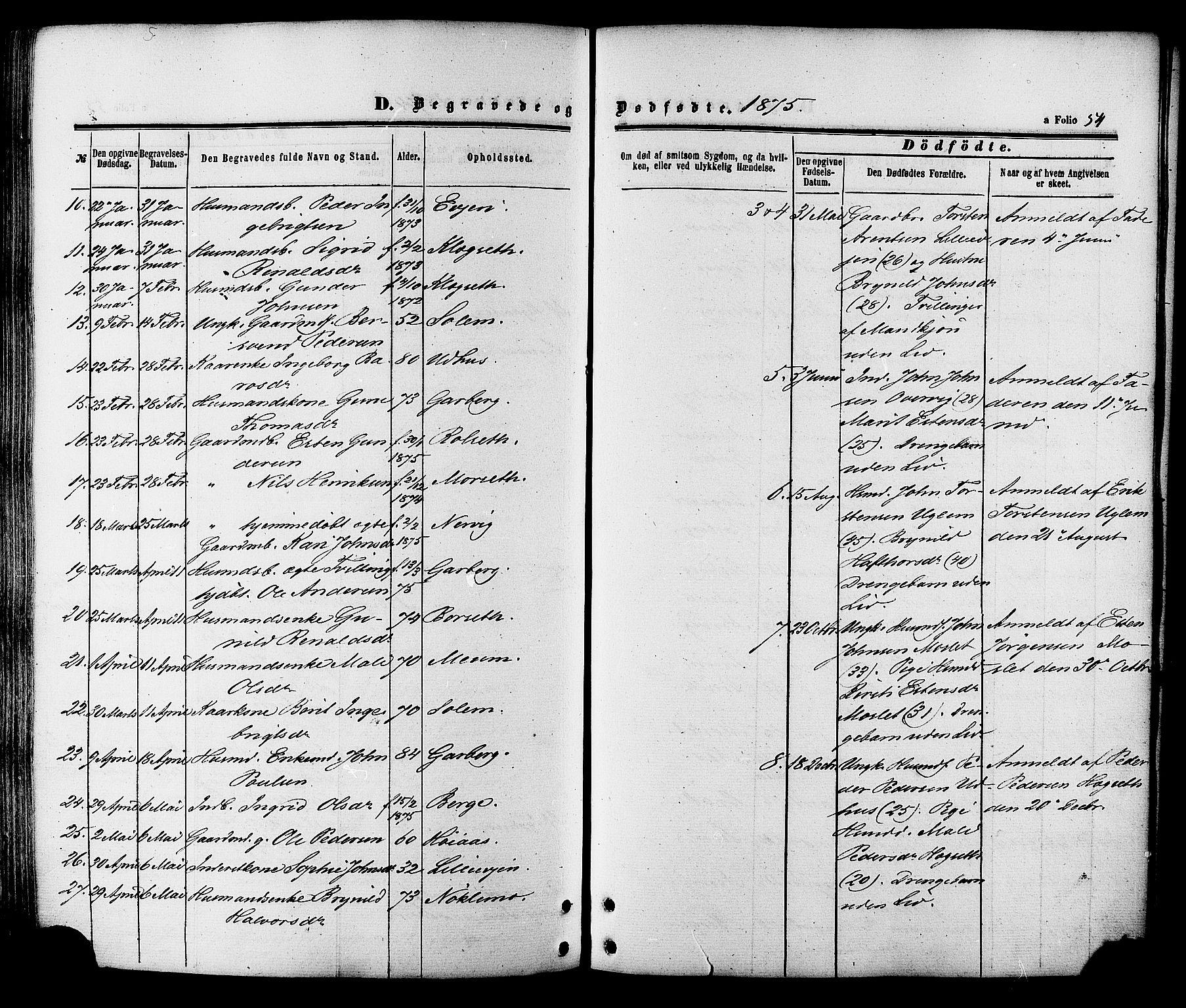 SAT, Ministerialprotokoller, klokkerbøker og fødselsregistre - Sør-Trøndelag, 695/L1147: Parish register (official) no. 695A07, 1860-1877, p. 54