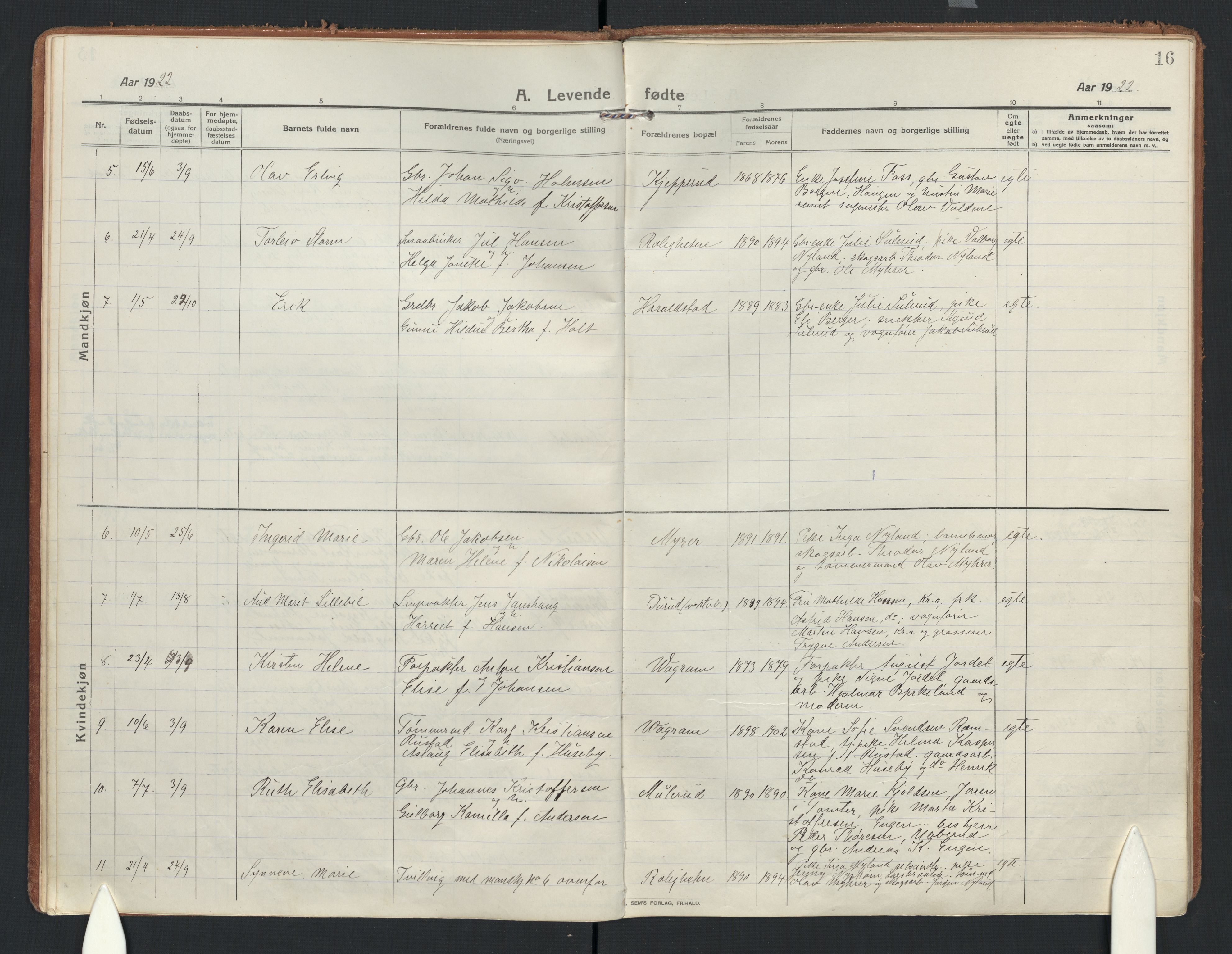 SAO, Enebakk prestekontor Kirkebøker, F/Fb/L0003: Parish register (official) no. II 3, 1912-1946, p. 16