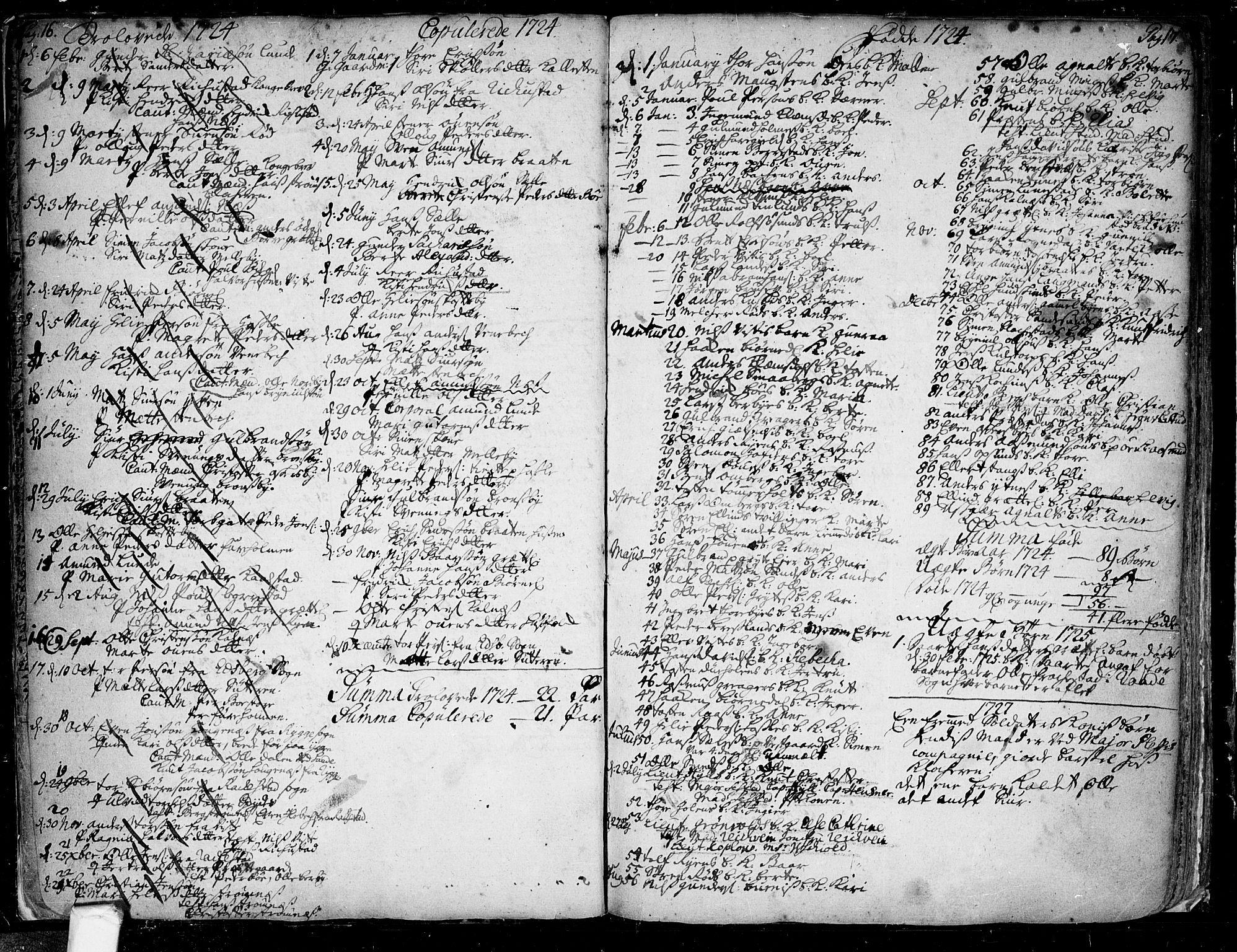 SAO, Tune prestekontor Kirkebøker, F/Fa/L0001: Parish register (official) no. 1, 1720-1758, p. 16-17
