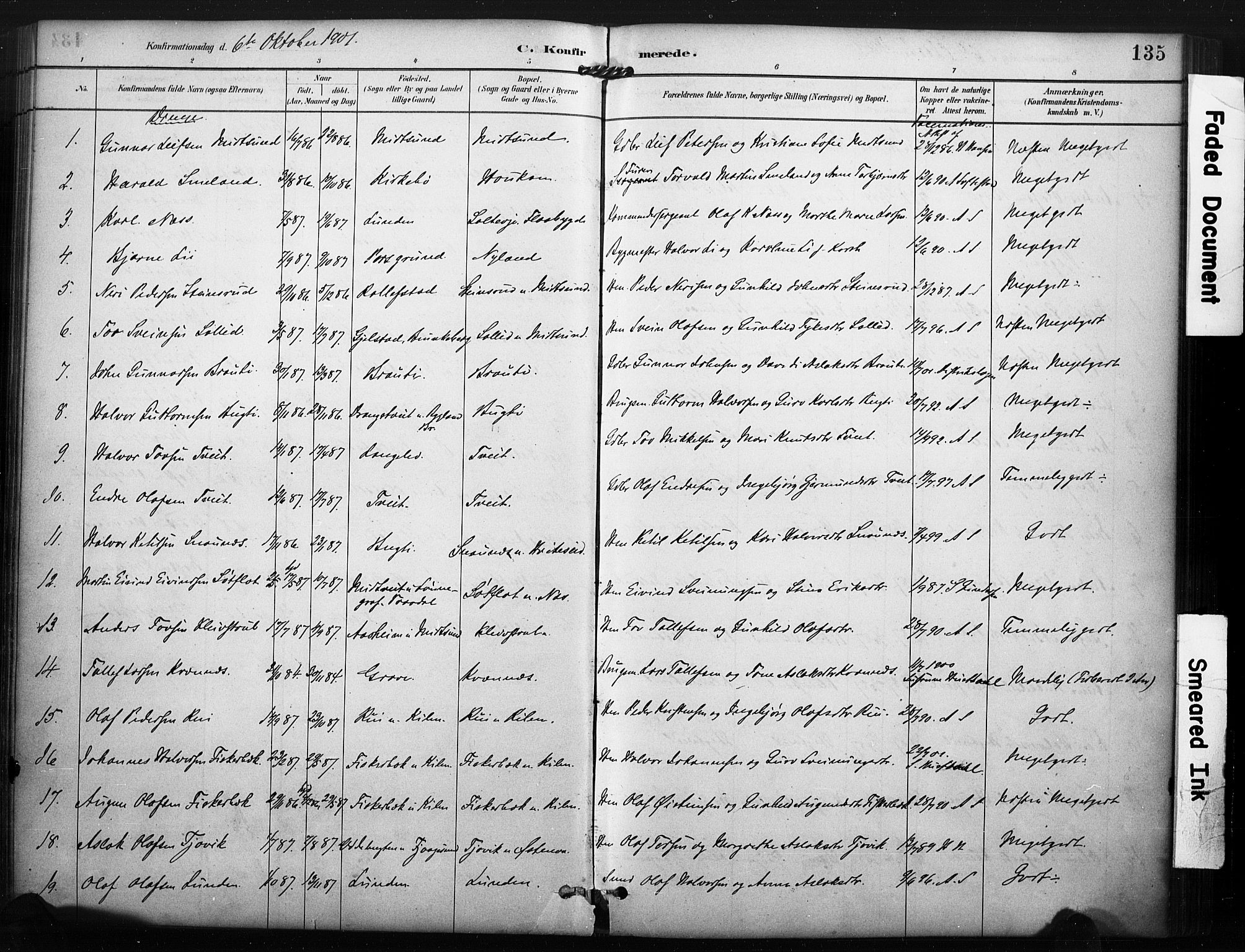 SAKO, Kviteseid kirkebøker, F/Fa/L0008: Parish register (official) no. I 8, 1882-1903, p. 135