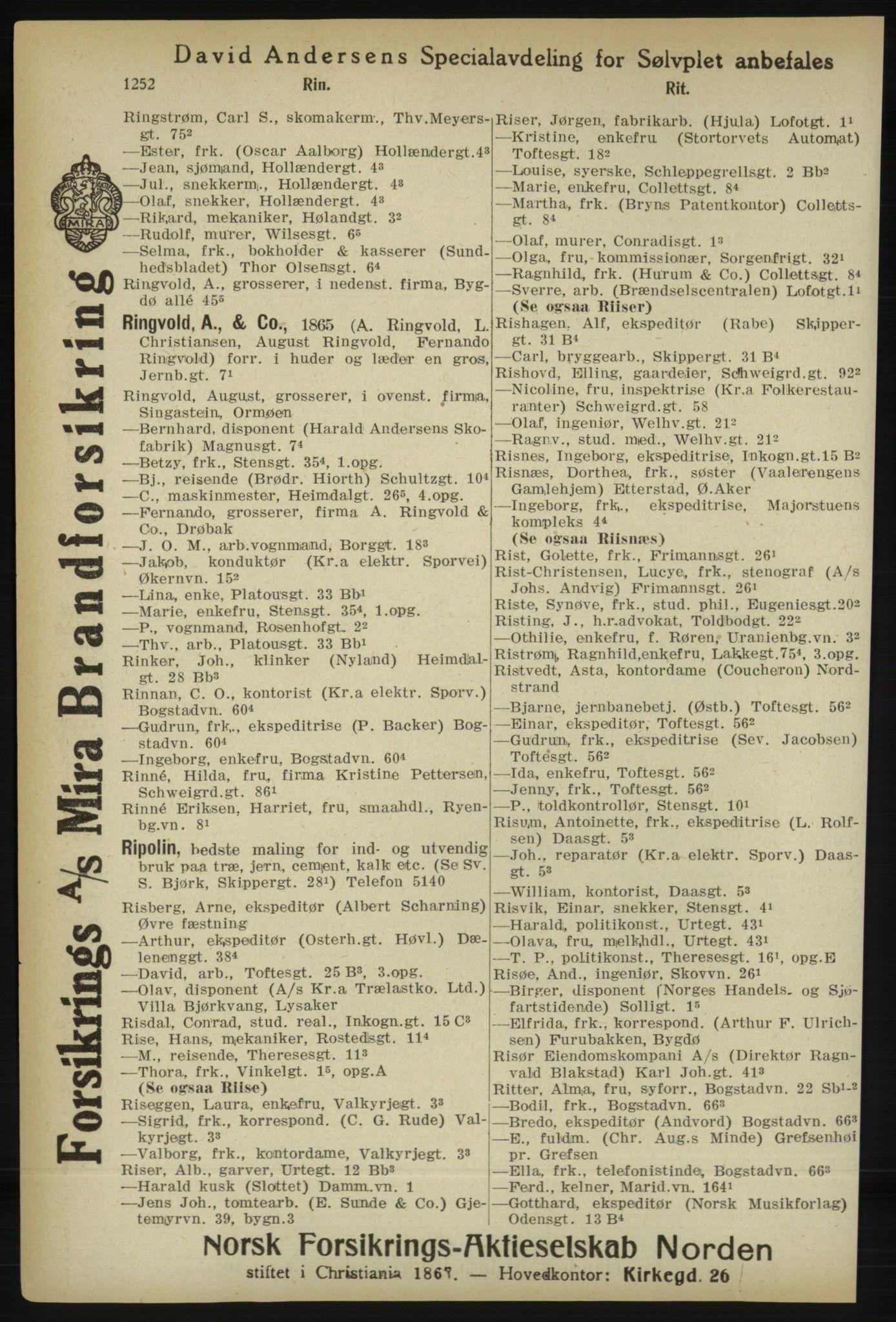 PUBL, Kristiania/Oslo adressebok, 1918, p. 1277
