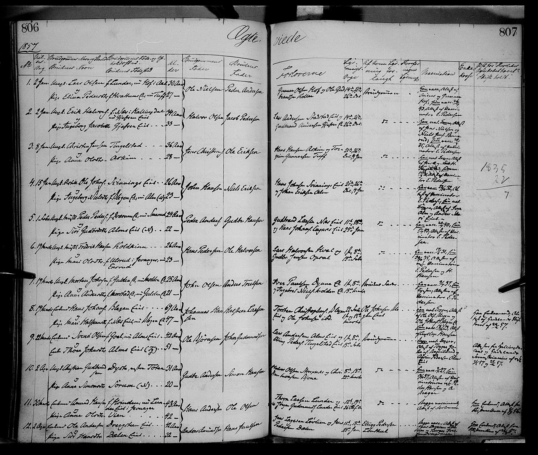 SAH, Gran prestekontor, Parish register (official) no. 12, 1856-1874, p. 806-807