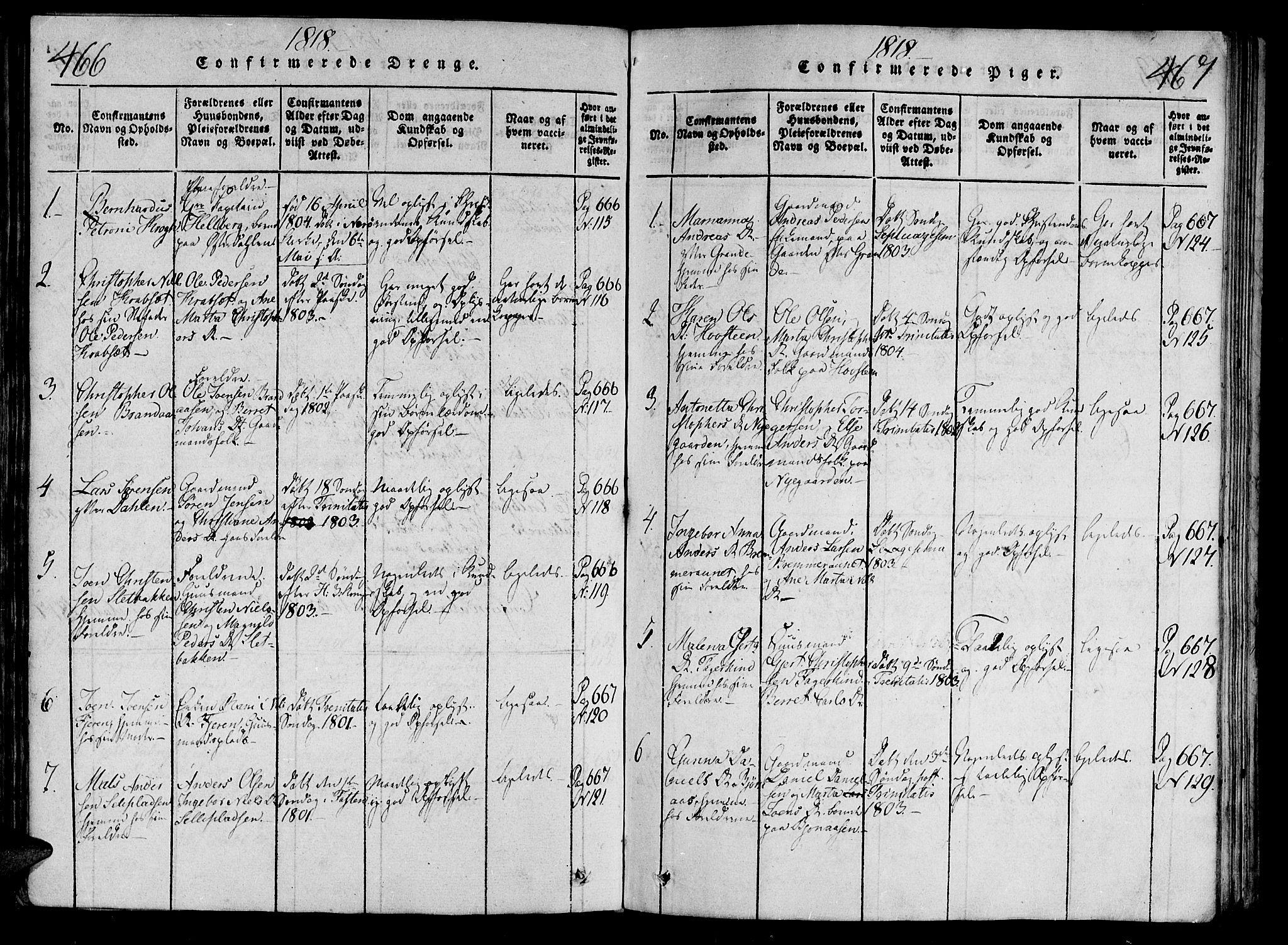 SAT, Ministerialprotokoller, klokkerbøker og fødselsregistre - Nord-Trøndelag, 701/L0005: Parish register (official) no. 701A05 /1, 1816-1825, p. 466-467