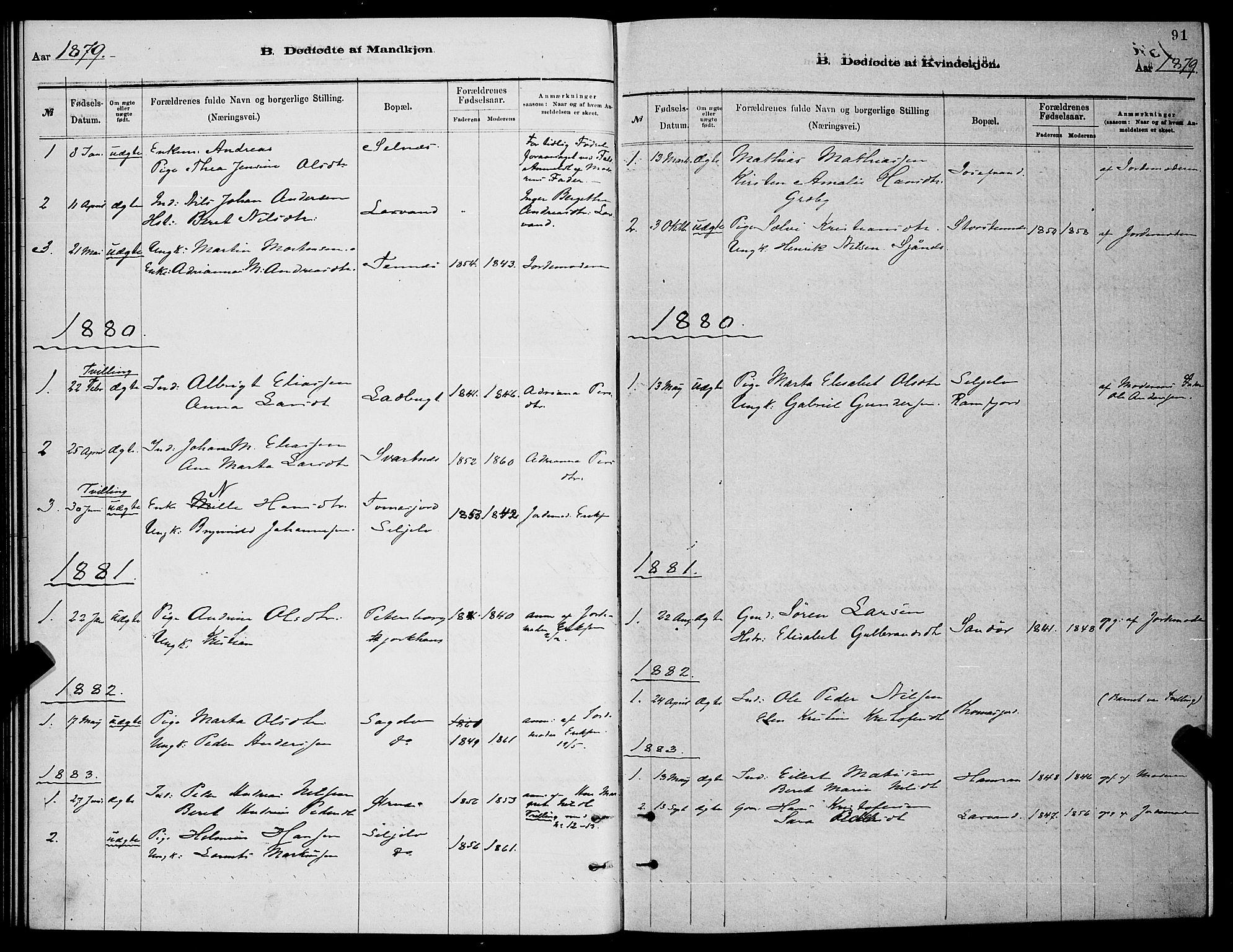 SATØ, Balsfjord sokneprestembete, Parish register (copy) no. 7, 1878-1889, p. 91
